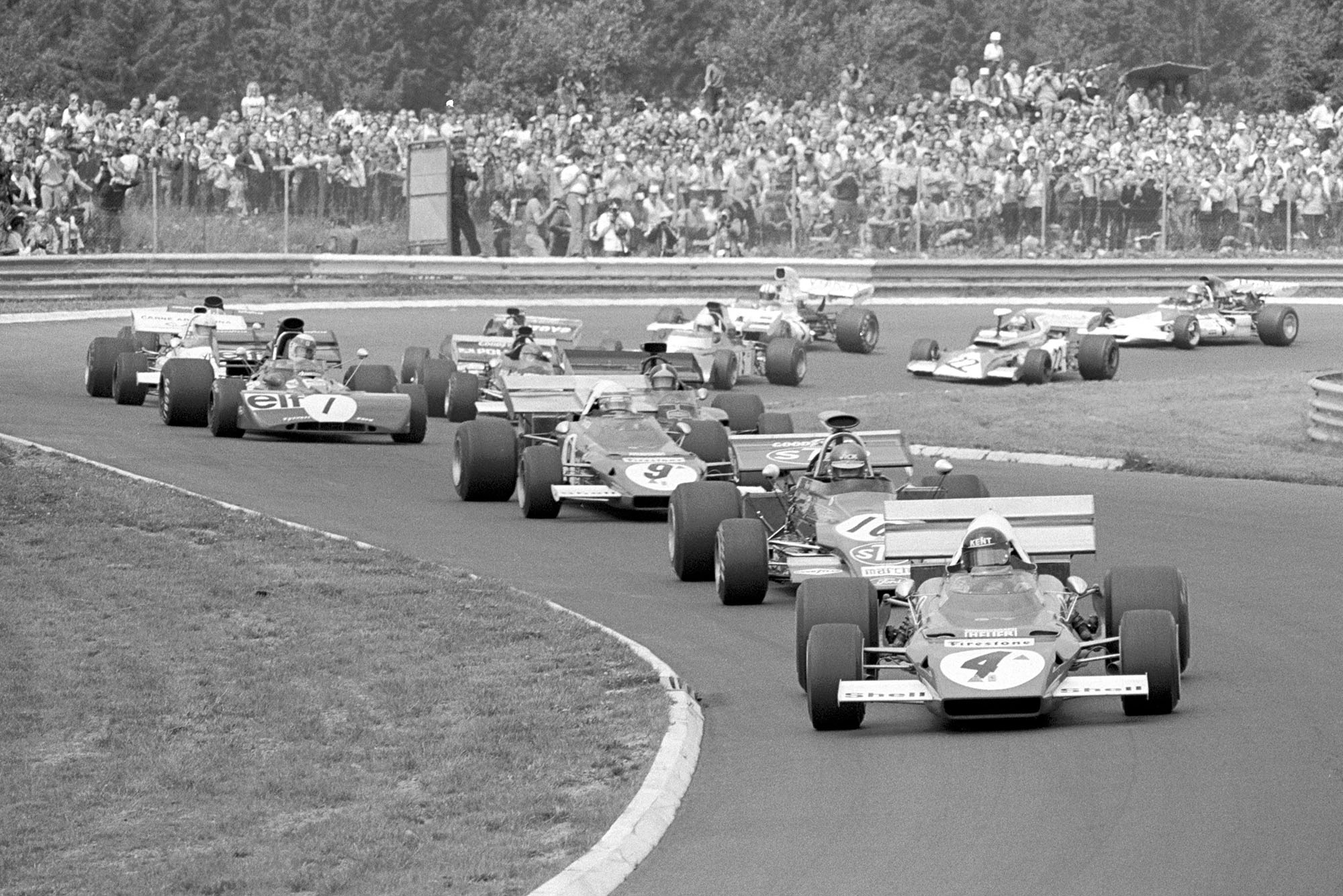 Ferrari's Jacky Ickx leads at the start of the 1972 German Grand Prix, Nurburgring.