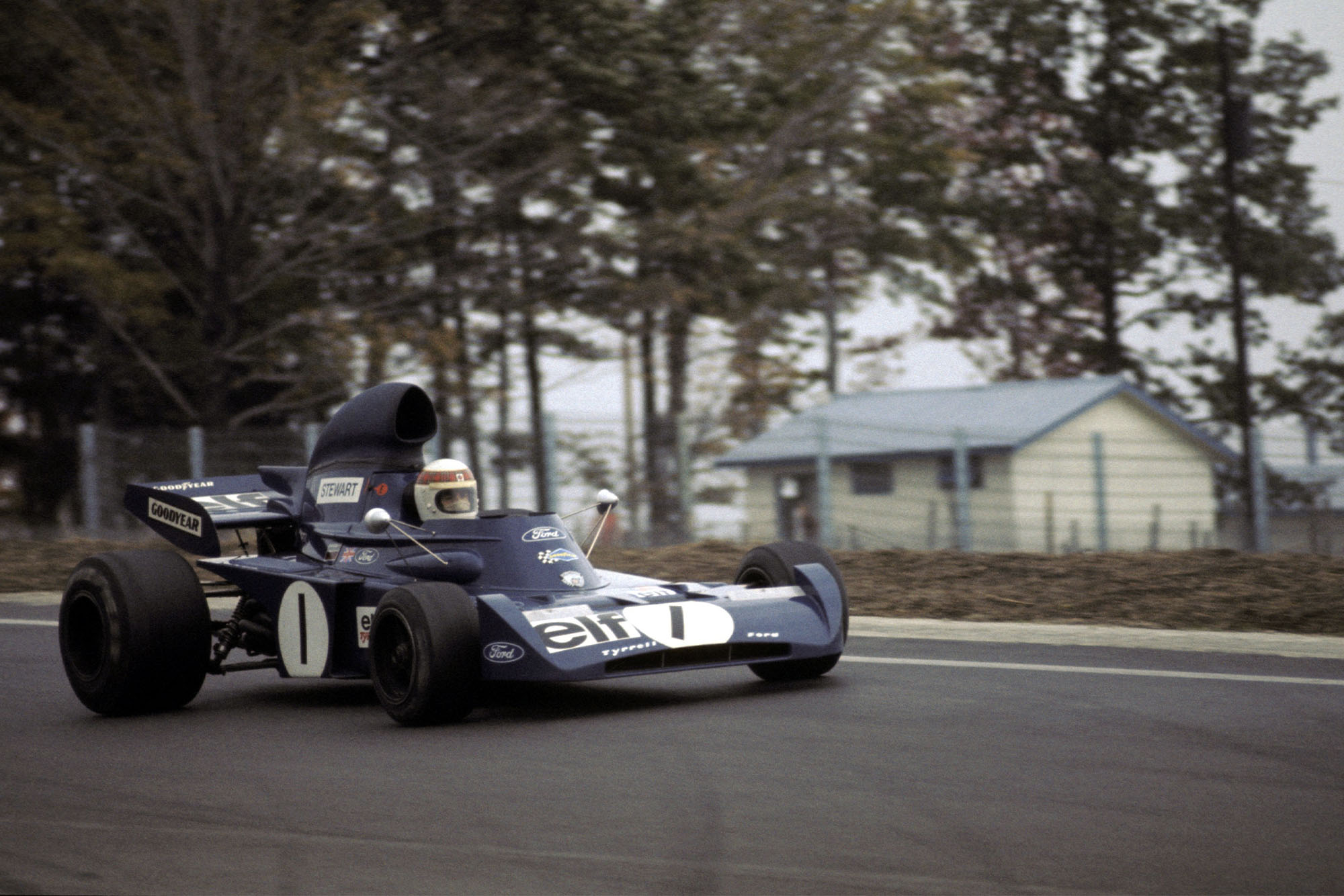 Jackie Stewart driving for Tyrrell the 1972 United States Grand Prix, Watkins Glen.