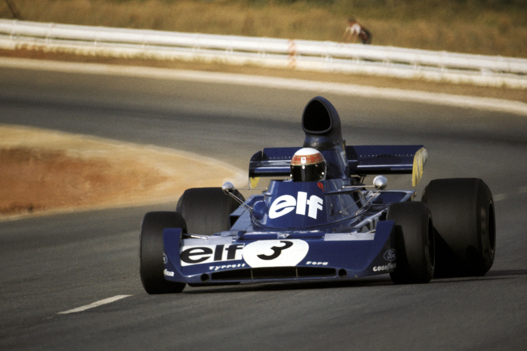 Jackie Stewart driving for Tyrrell at the 1973 South African Grand Prix