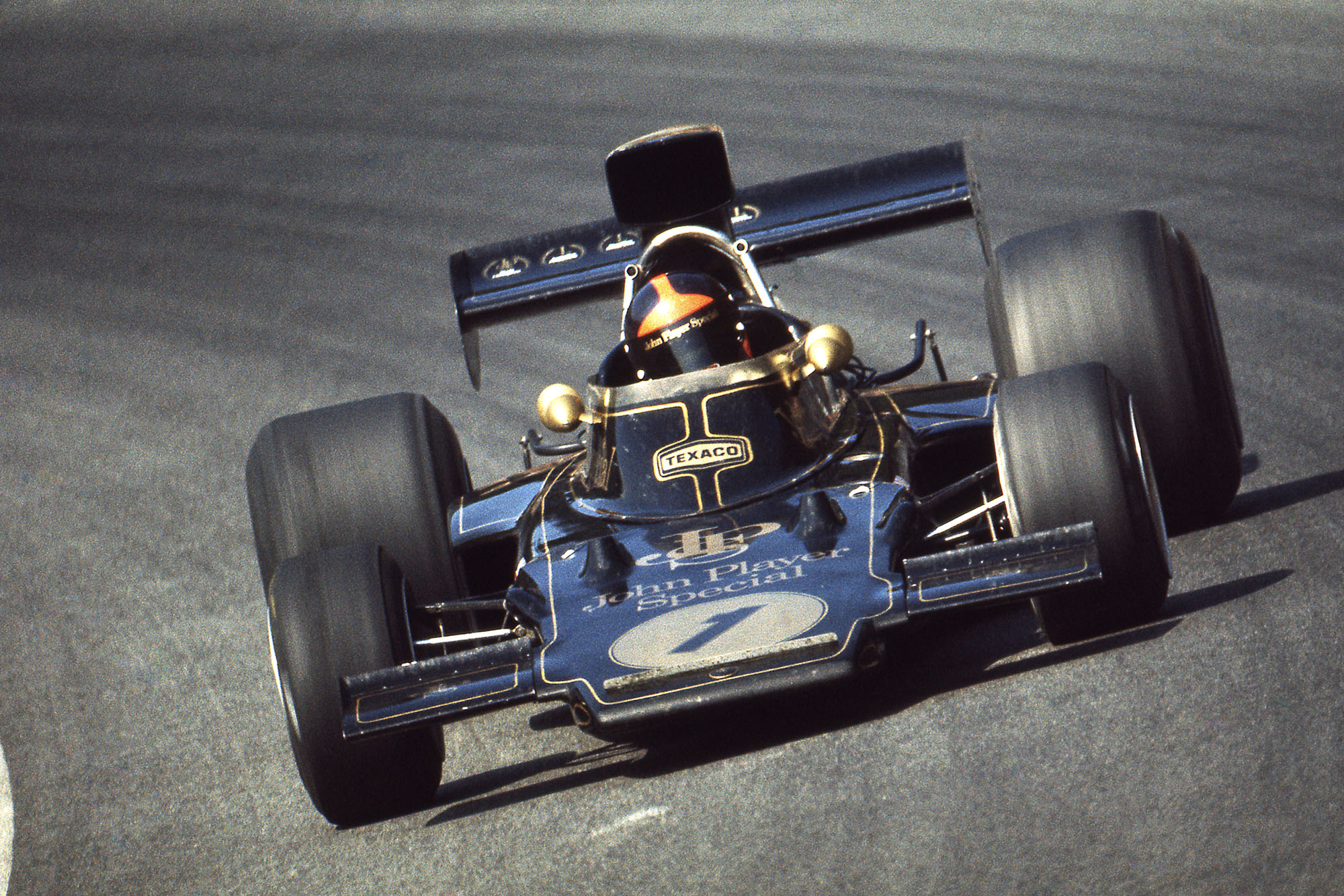 Emerson Fittipaldi driving for Lotus at the 1973 Austrain Grand Prix.