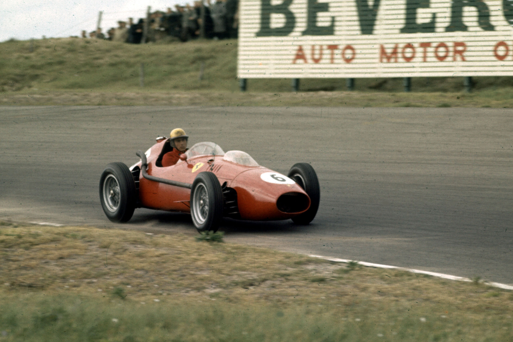 Luigi Musso in a Ferrari Dino 246 who finished in 7th