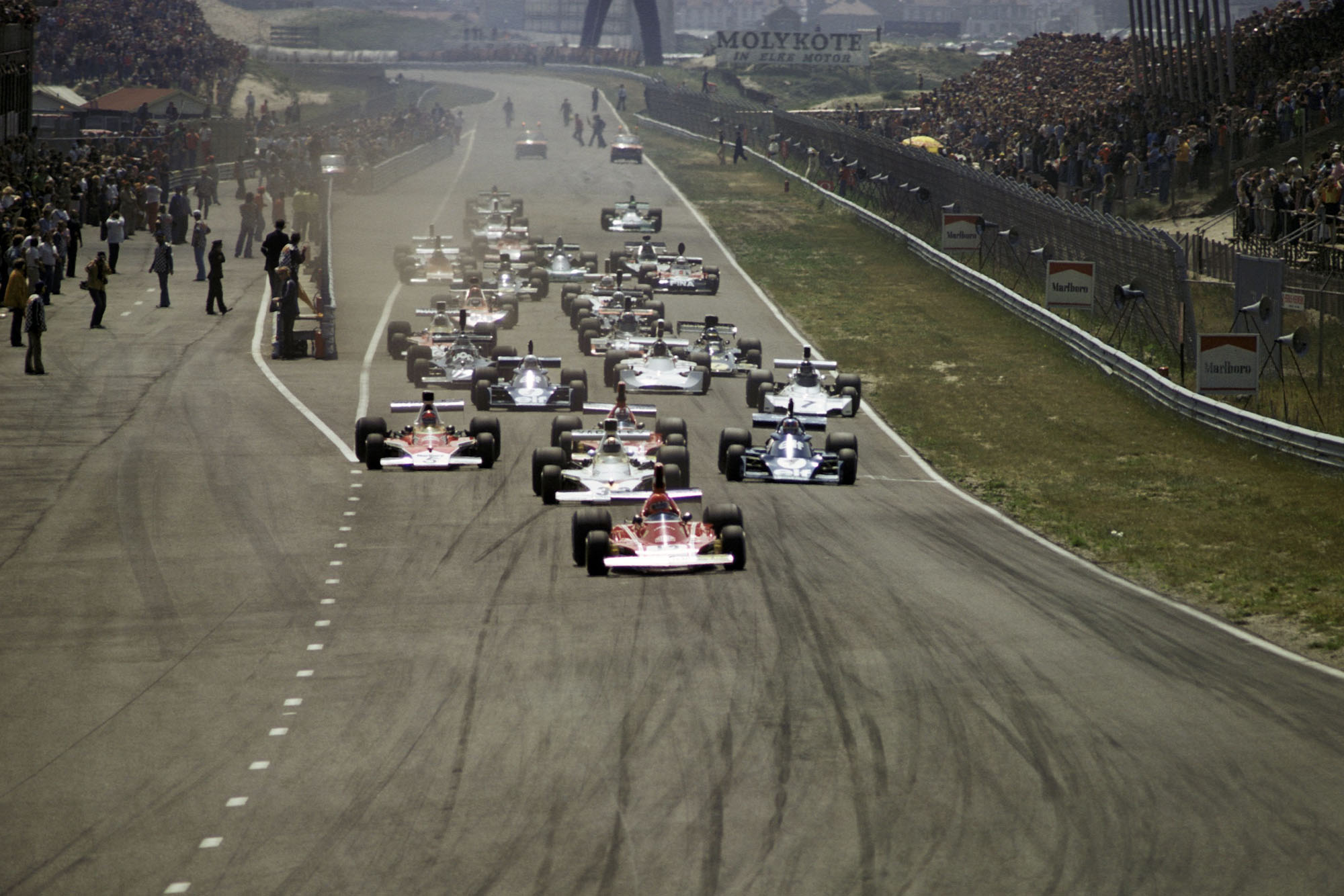 Niki Lauda leads at the start of the 1974 Dutch Grand Prix.