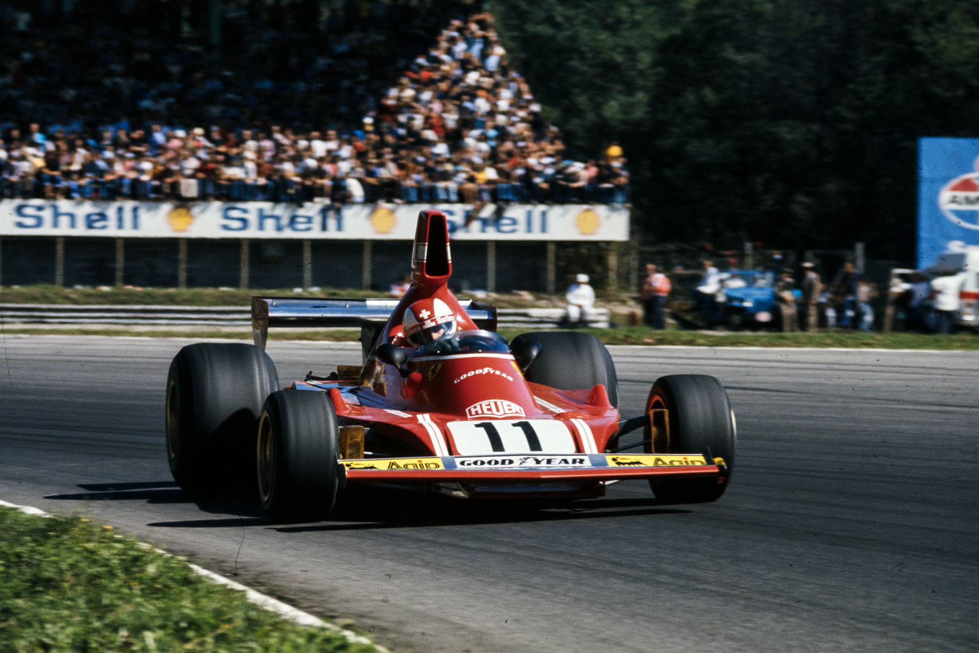 Clay Regazzoni driving for Ferrari at the 1974 Italian Grand Prix