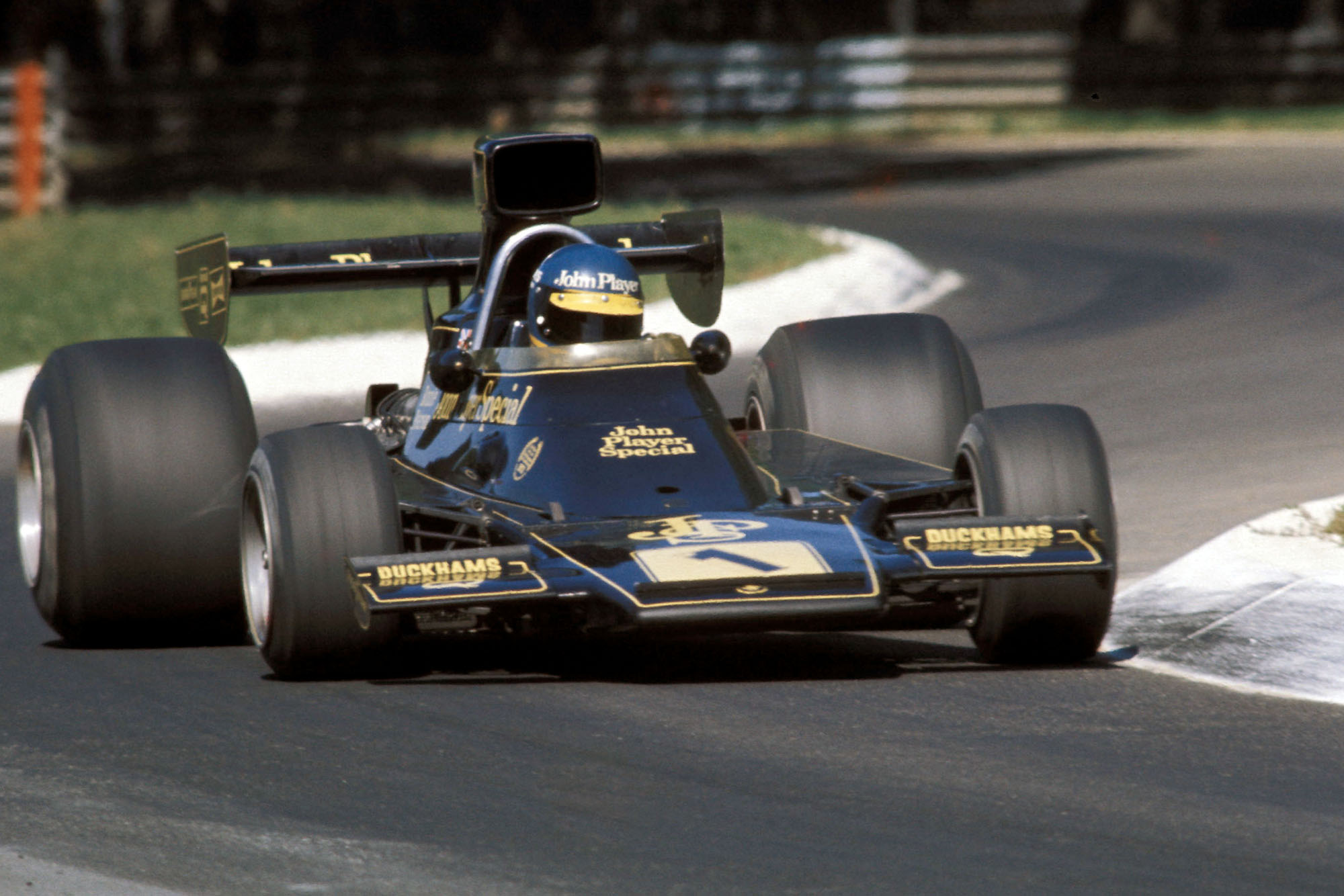 Ronnie Peterson driving for Lotus at the 1974 Italian Grand Prix.