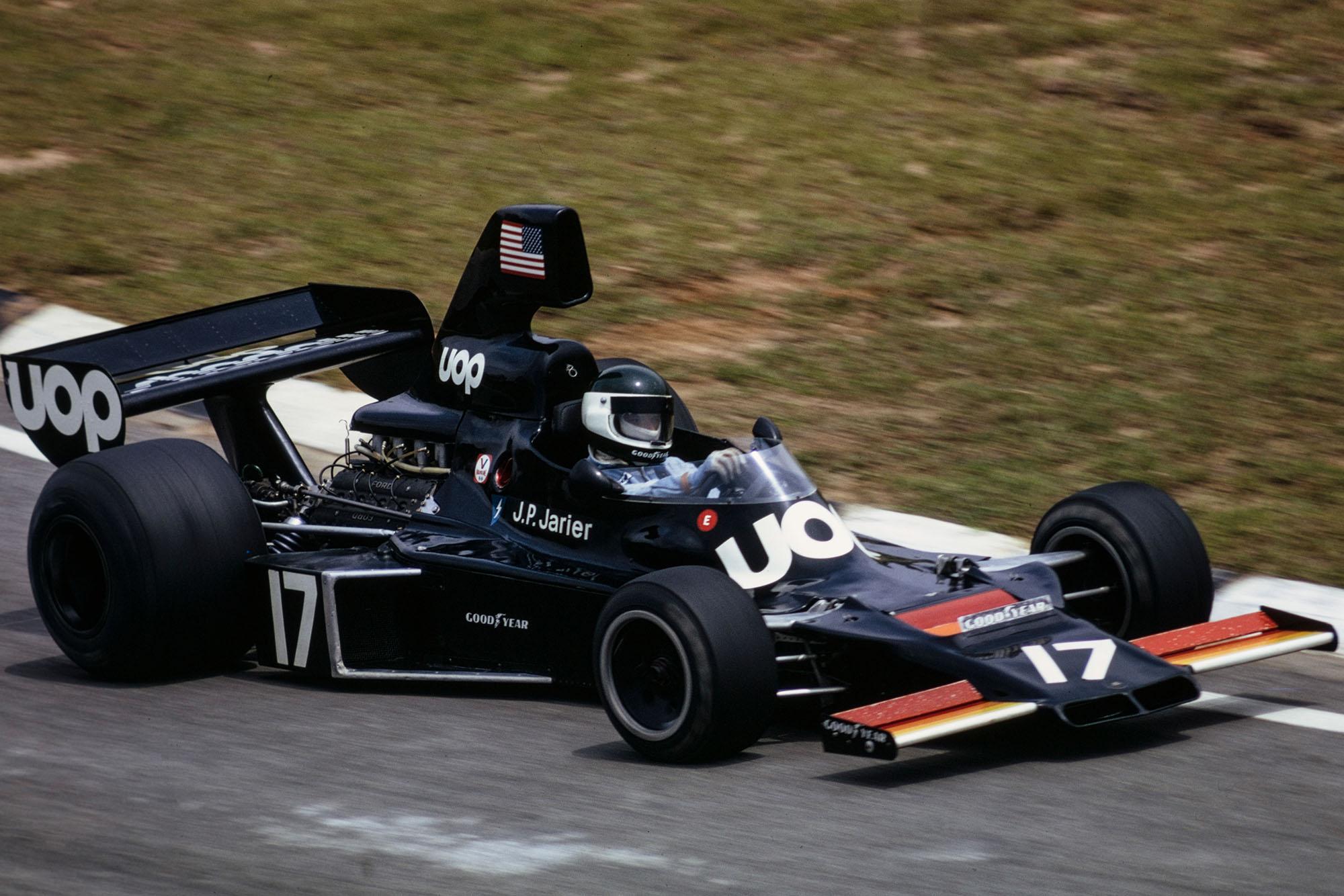Jean-Pierre Jarier driving for Shadow at the 1975 Brazilian Grand Prix, Interlagos.