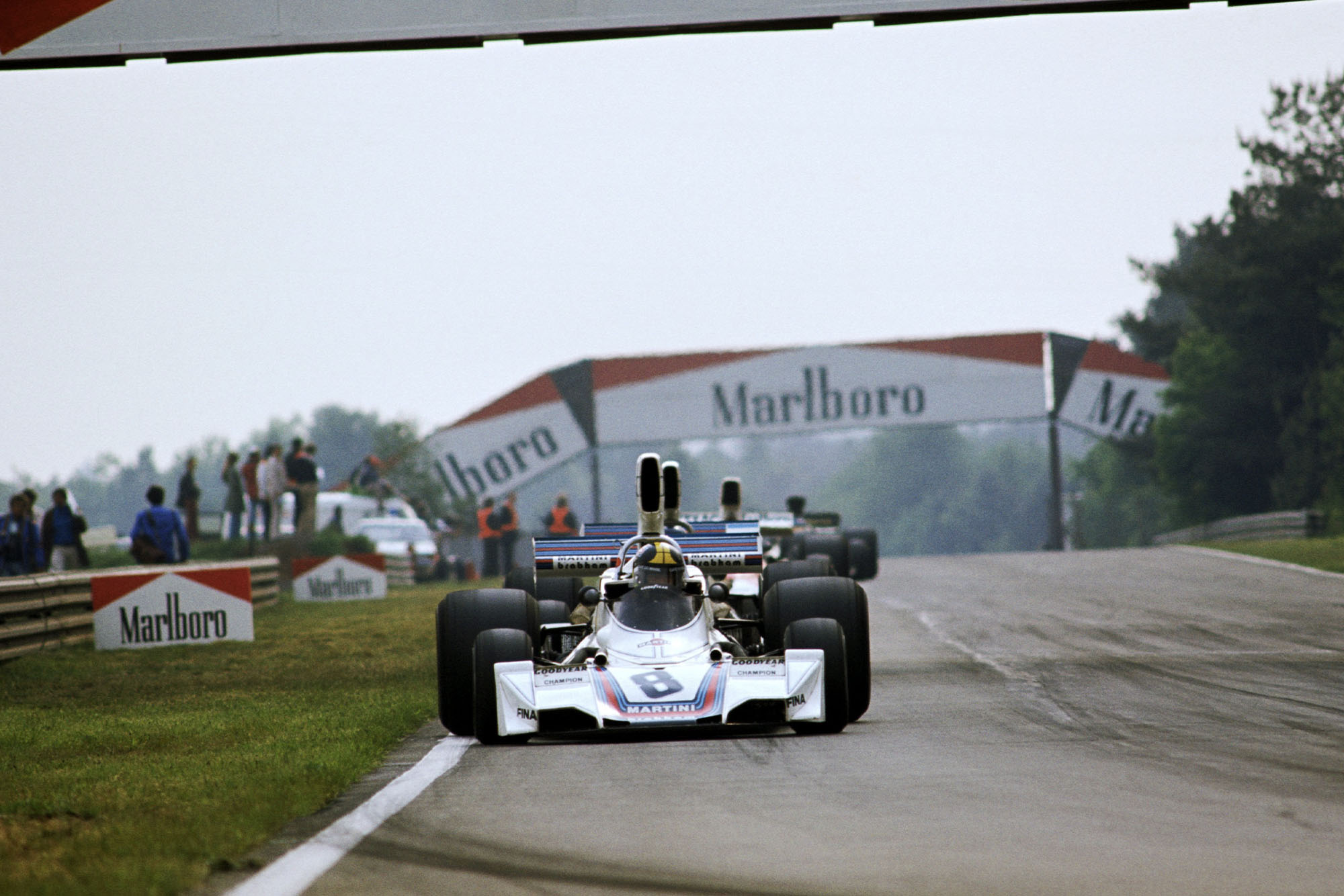 Carlos Pace (Brabham) competeing at the 1975 Belgian Grand Prix, Zolder.