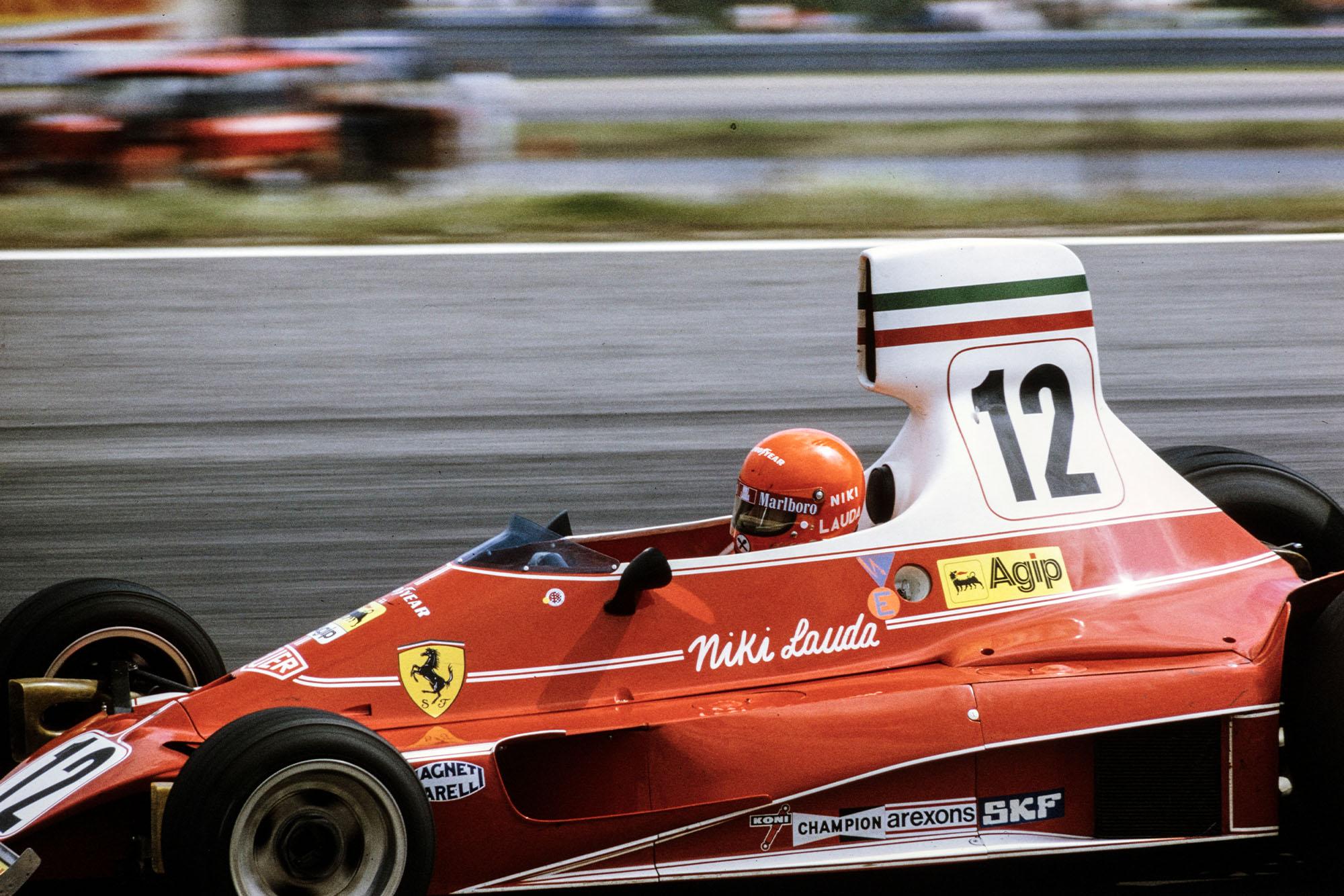 Niki Lauda (Ferrari) throws his car into a corner at the 1975 Swedish Grand Prix.