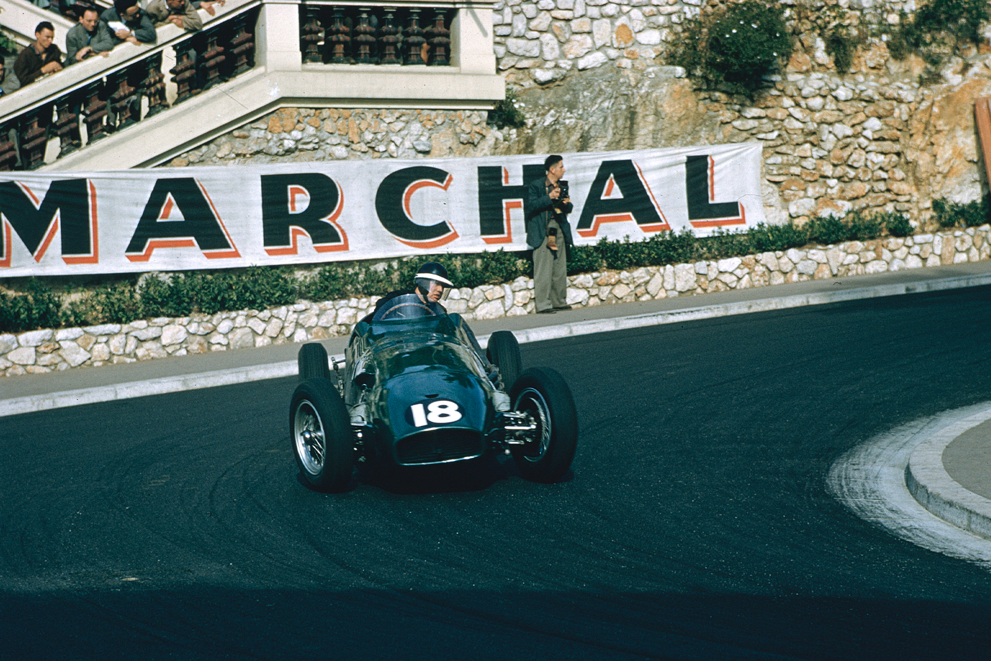 Mike Hawthorn (Vanwall VW1) at Station Hairpin, 1955 Monaco Grand Prix.
