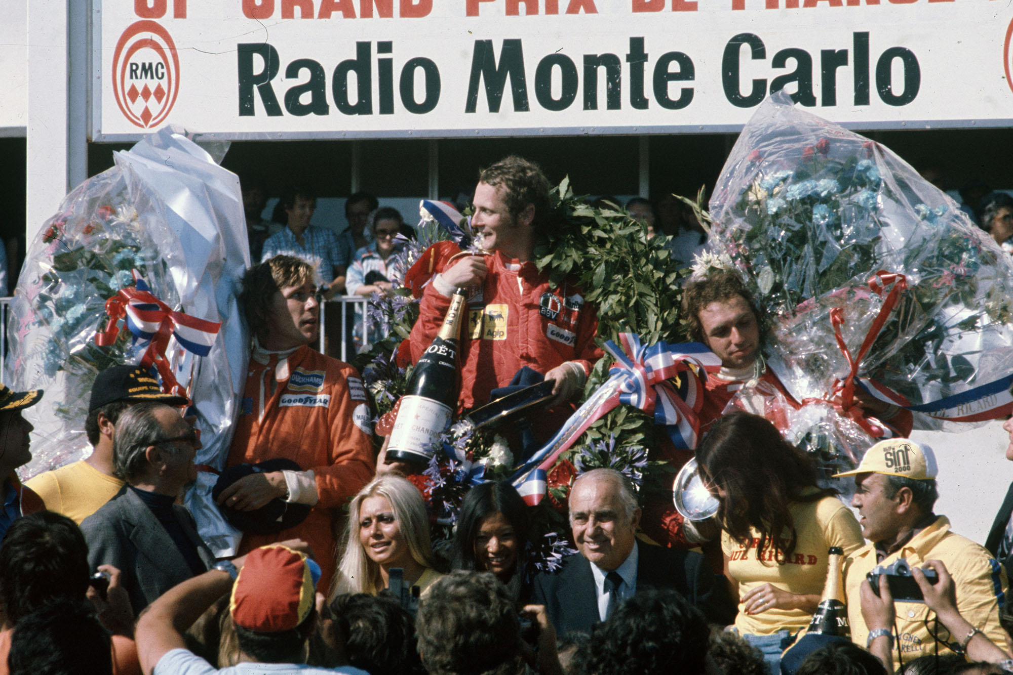 Niki Lauda on top the podium after winning the 1975 French Grand Prix, Paul Ricard.