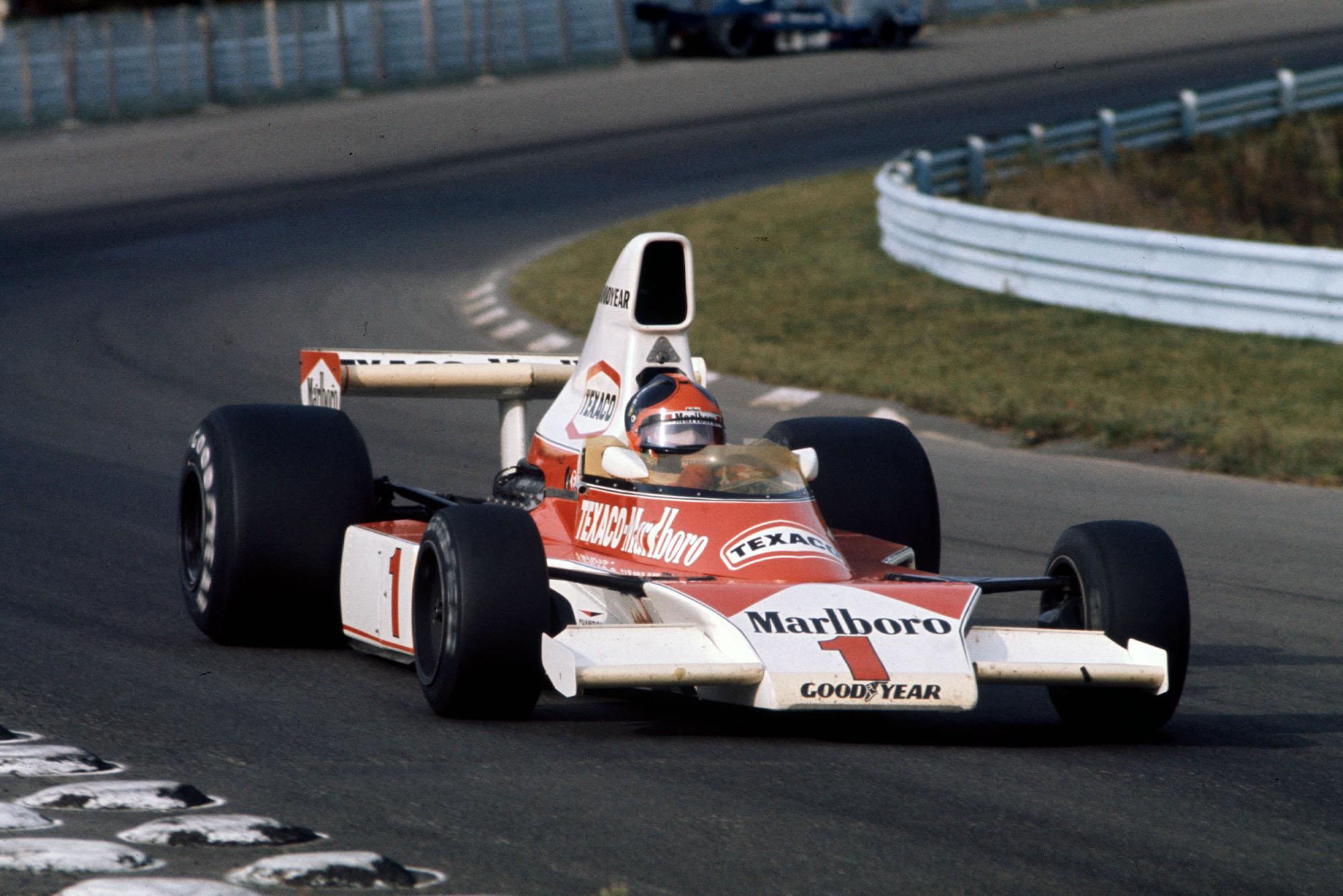 Emerson Fittipaldi (McLaren) at the 1975 United States Grand Prix, Watkins Glen.