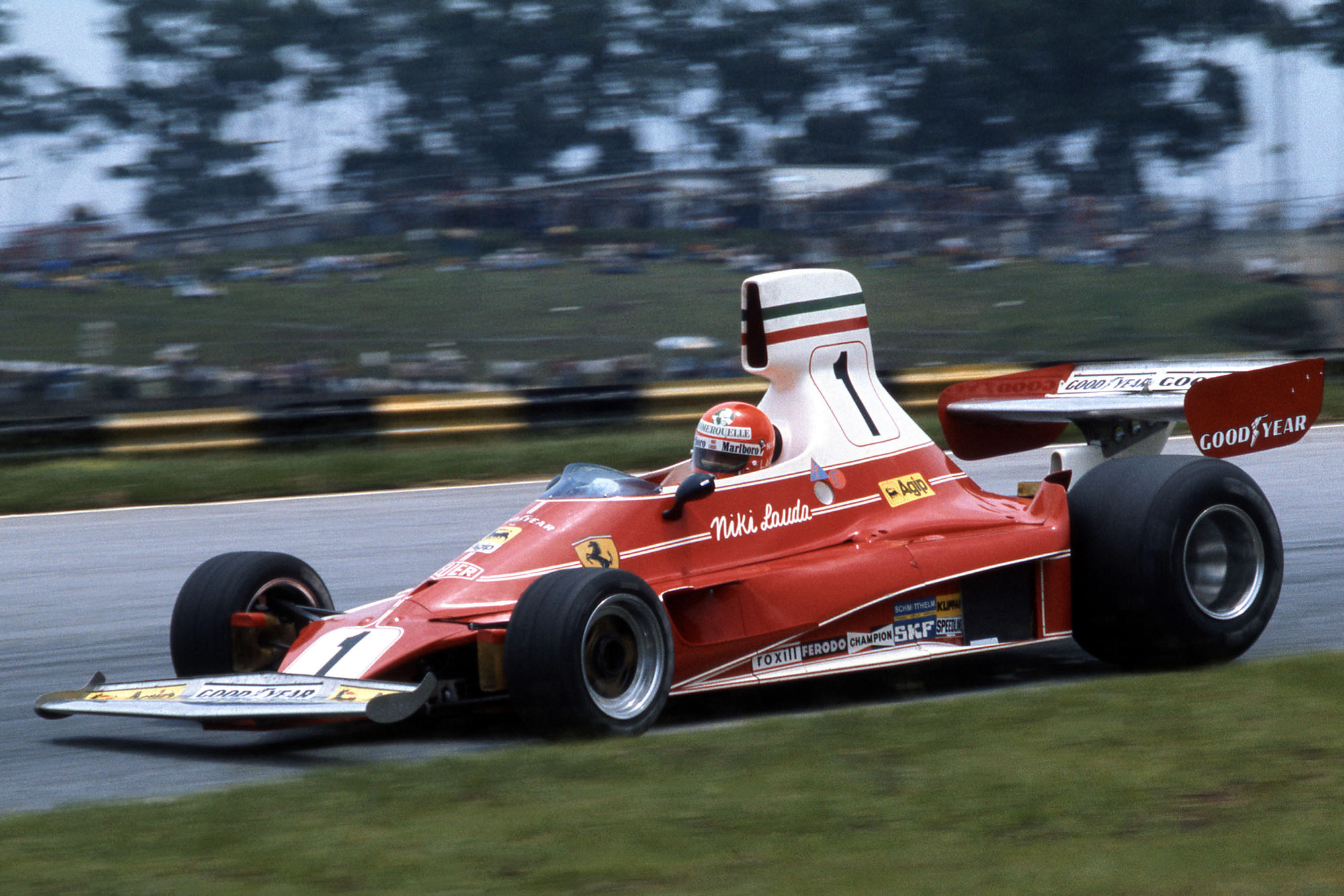 Niki Lauda (Ferrari) driving at the 1976 Brazilian Grand Prix