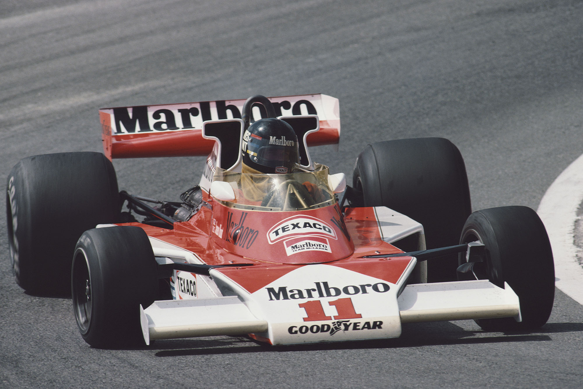 James Hunt on his way to victory at the 1976 Spanish Grand Prix.