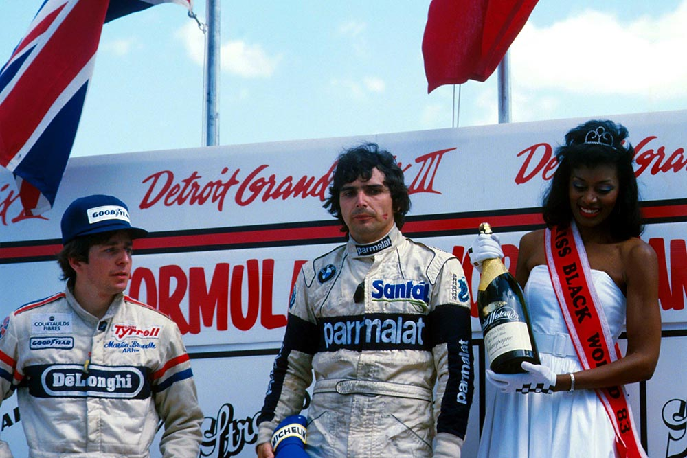 Winner Nelson Piquet and Martin Brundle on the podium.