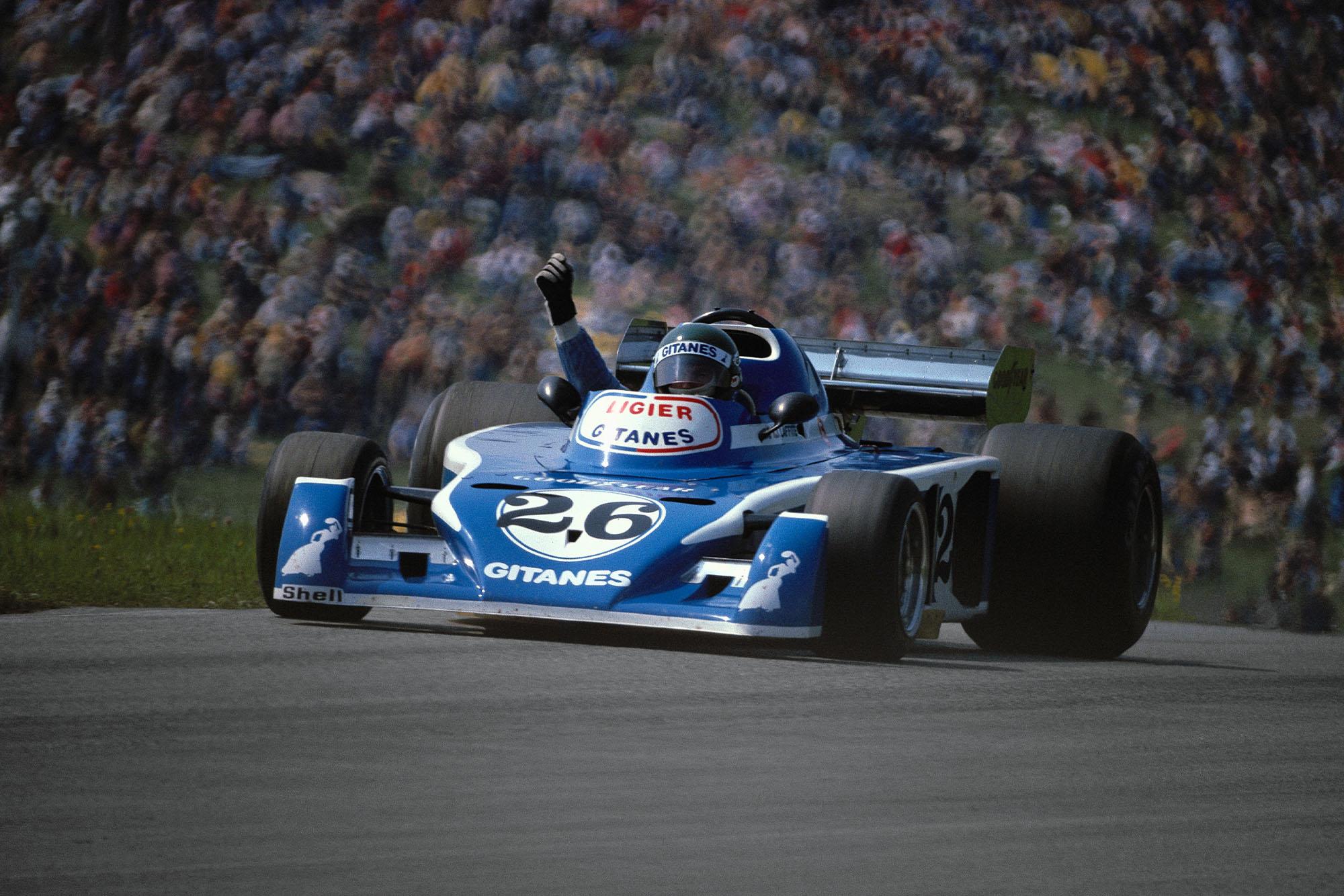 Jacques Laffite (Ligier) at the 1976 Austrian Grand Prix, Österreichring.