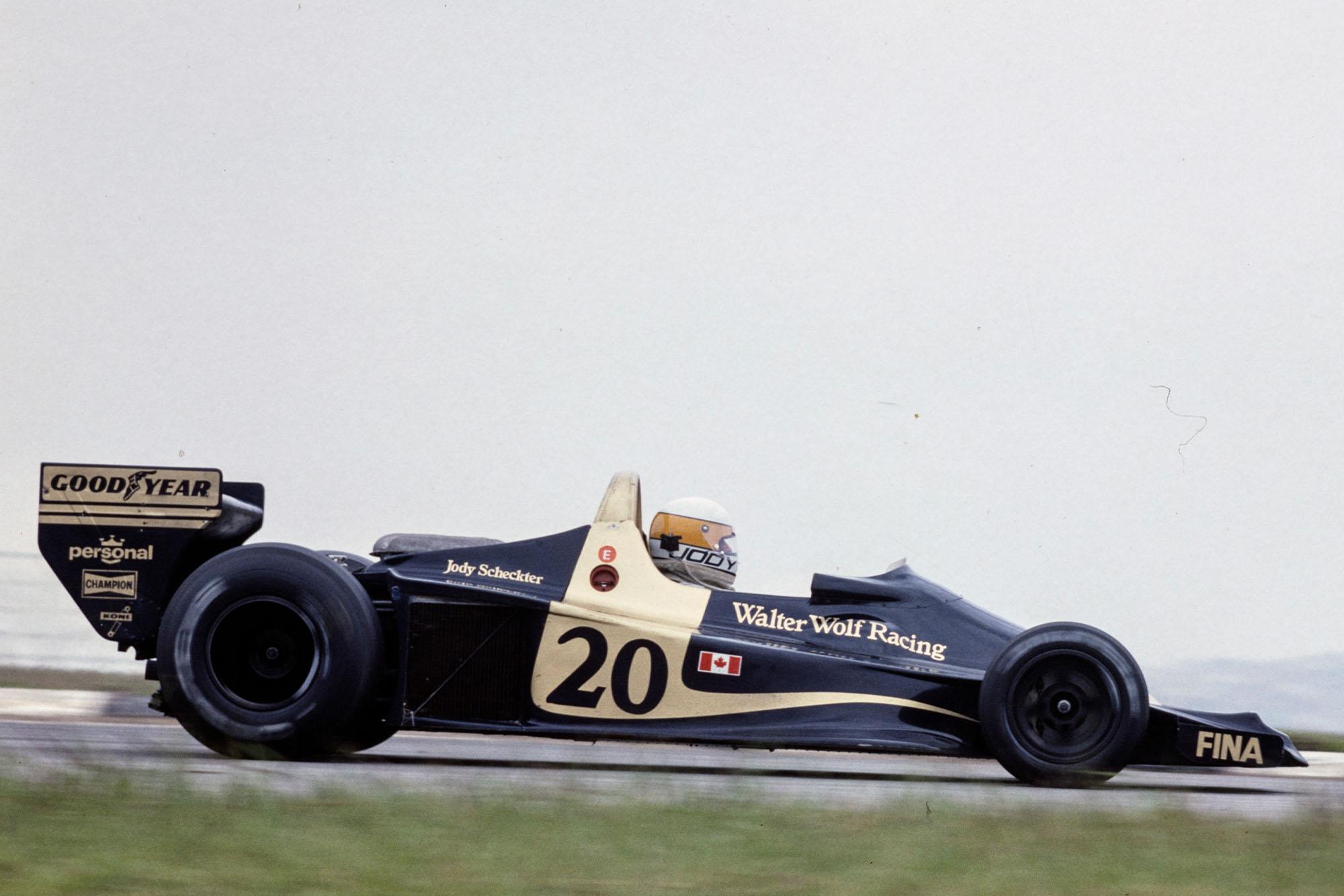 Jody Scheckter (Wolf) at the 1977 Brazilian Grand Prix, Interlagos.