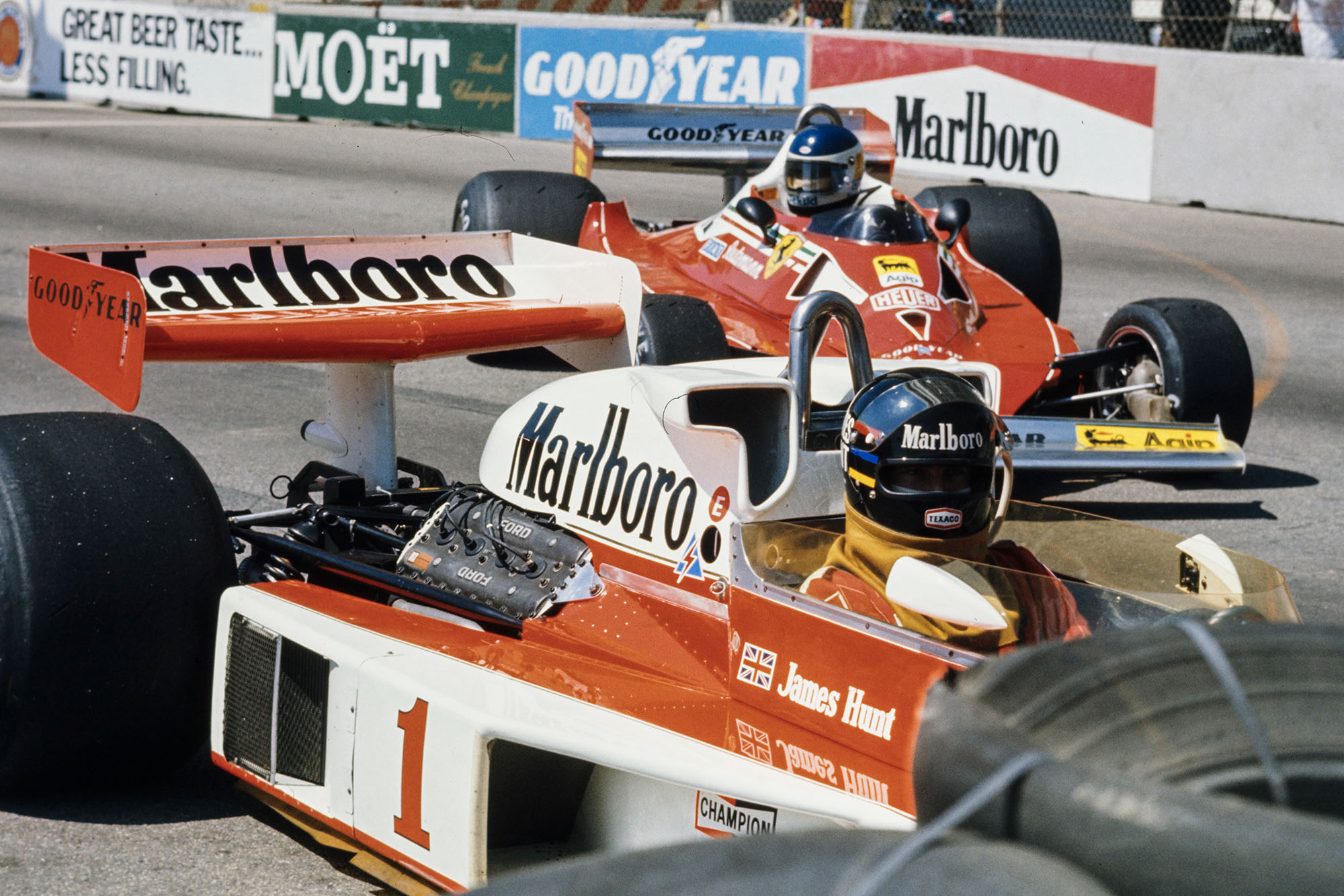 James Hunt (McLaren) finds himself buried in the barriers, United States Grand Prix West, Long Beach.