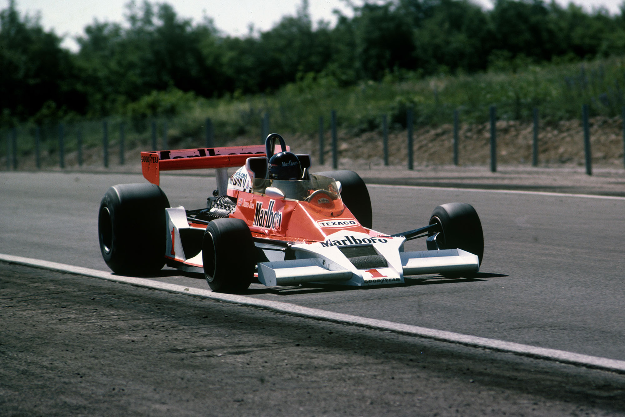 James Hunt (McLaren) at the 1977 French Grand Prix, Dijon.