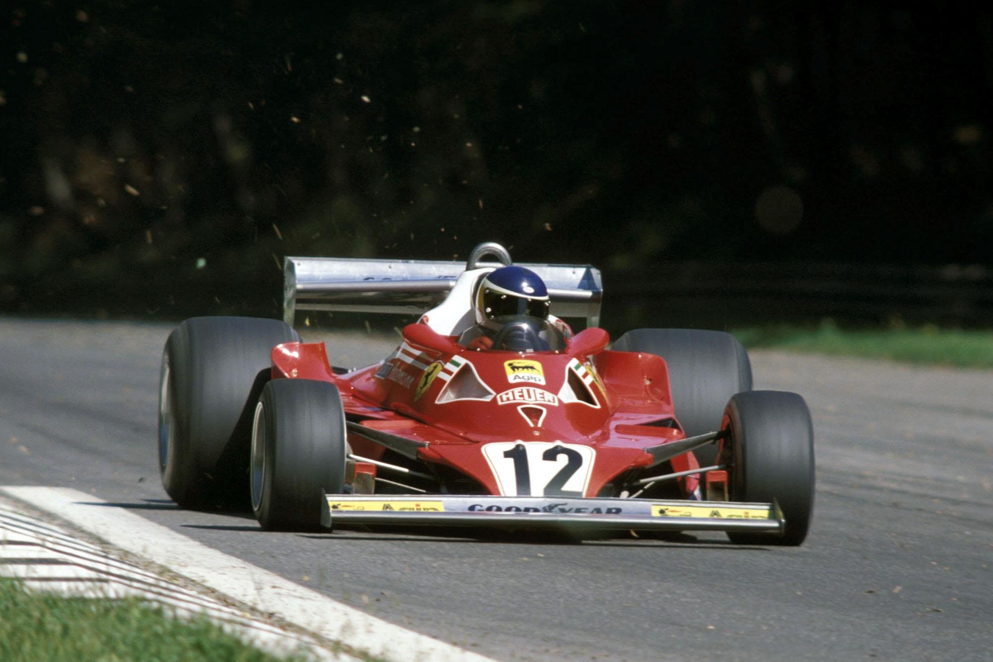 Carlos Reutemann (Ferrari) driving at the 1977 Italian Grand Prix, Monza.