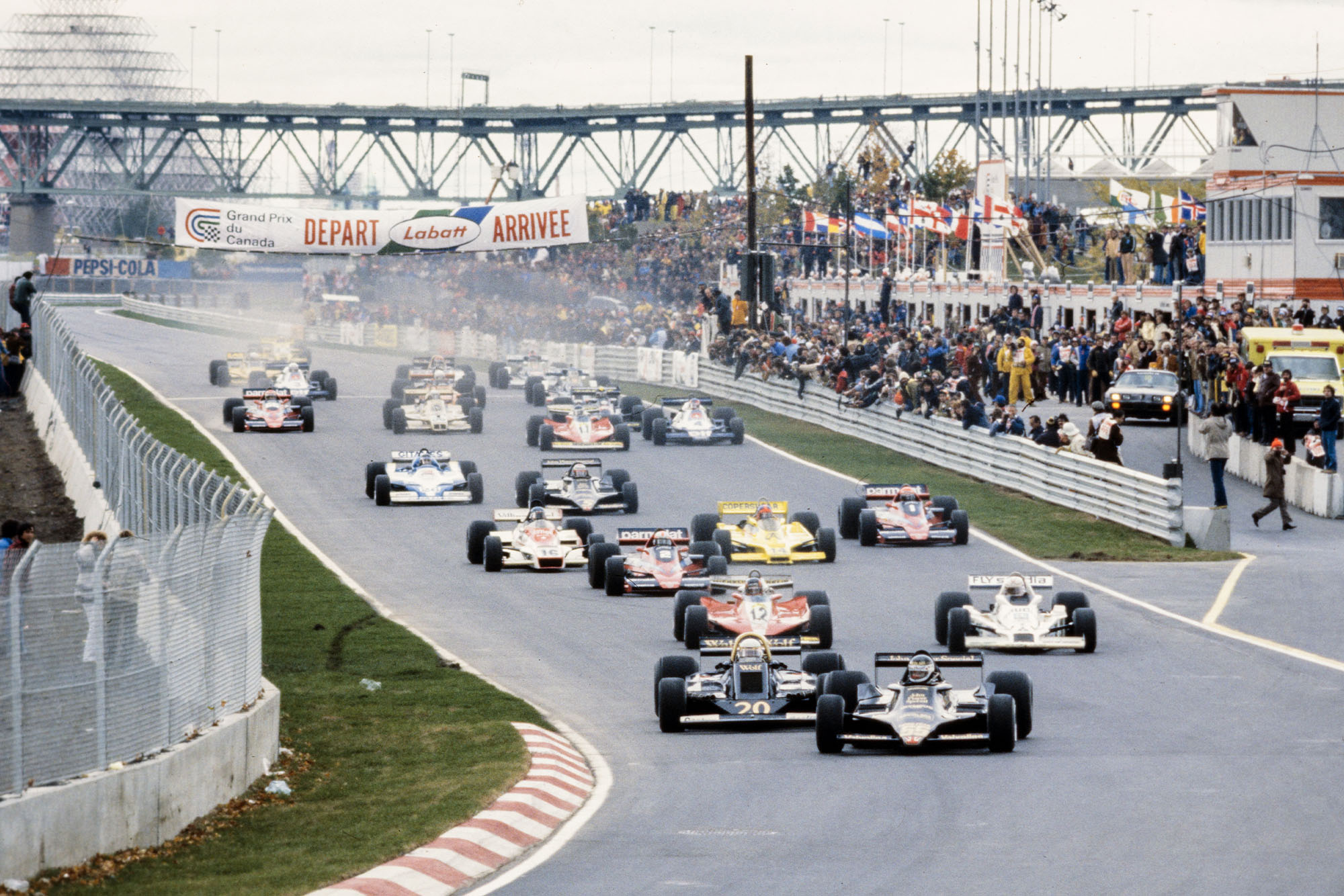 Jean-Pierre Jarier leads the field at the start of the 1978 Canadian Grand Prix, Montreal.