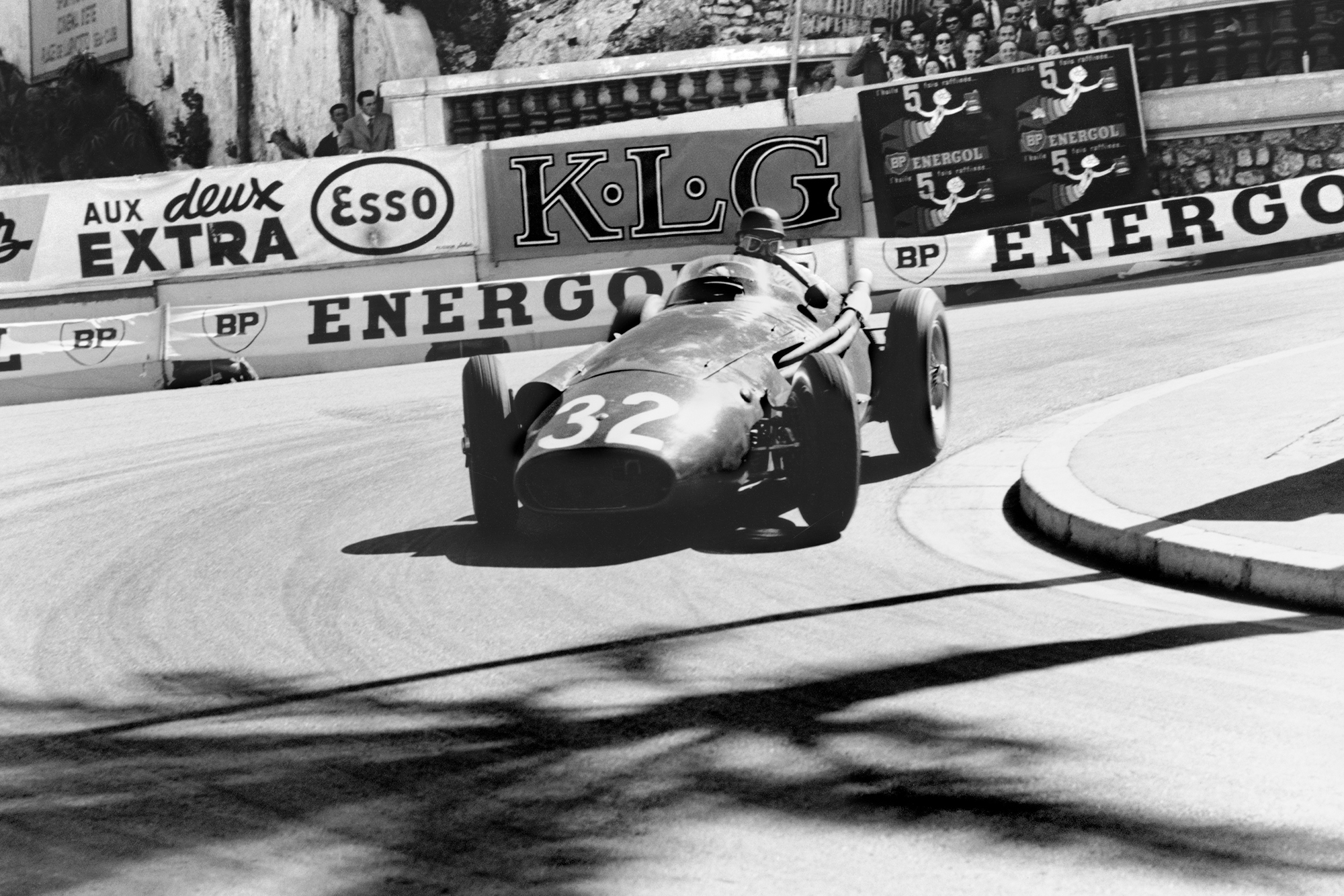 Juan Manuel Mangio rounds the Loews Hairpin at the 1957 Monaco Grand Prix.