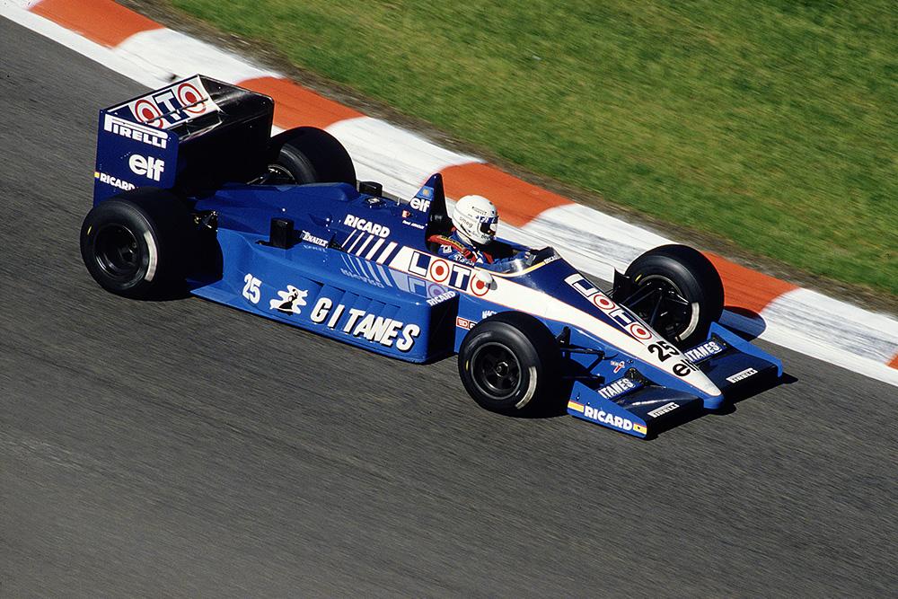 Rene Arnoux at the wheel of his Ligier JS27 Renault.