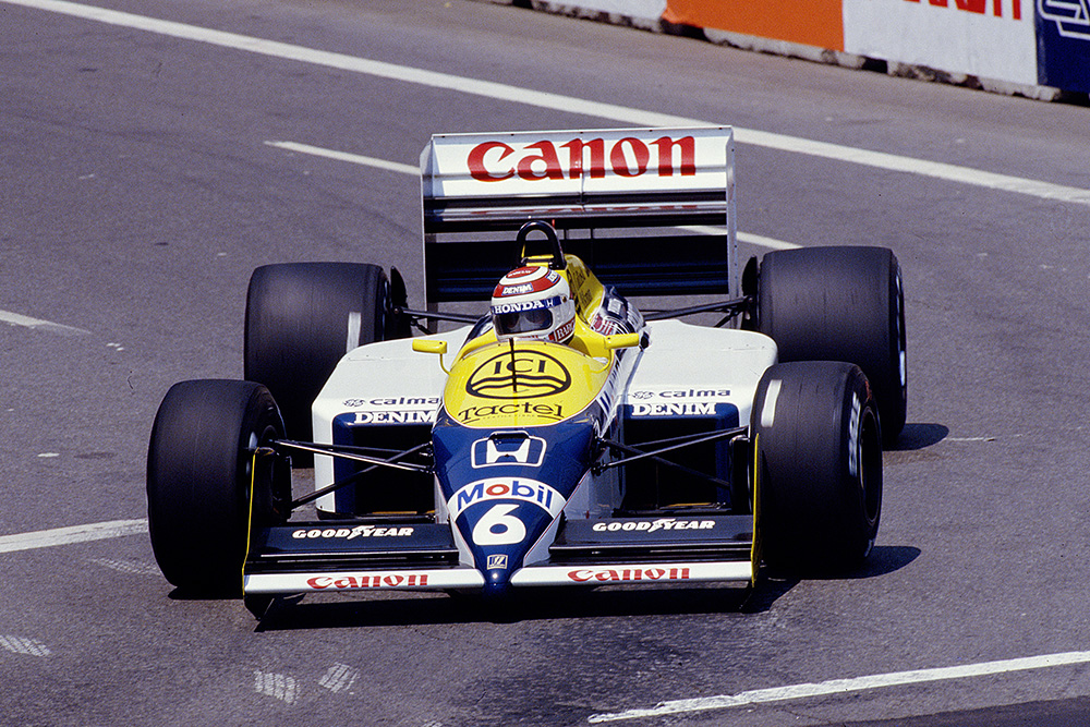 Nelson Piquet at the wheel of his Williams FW11B Honda.