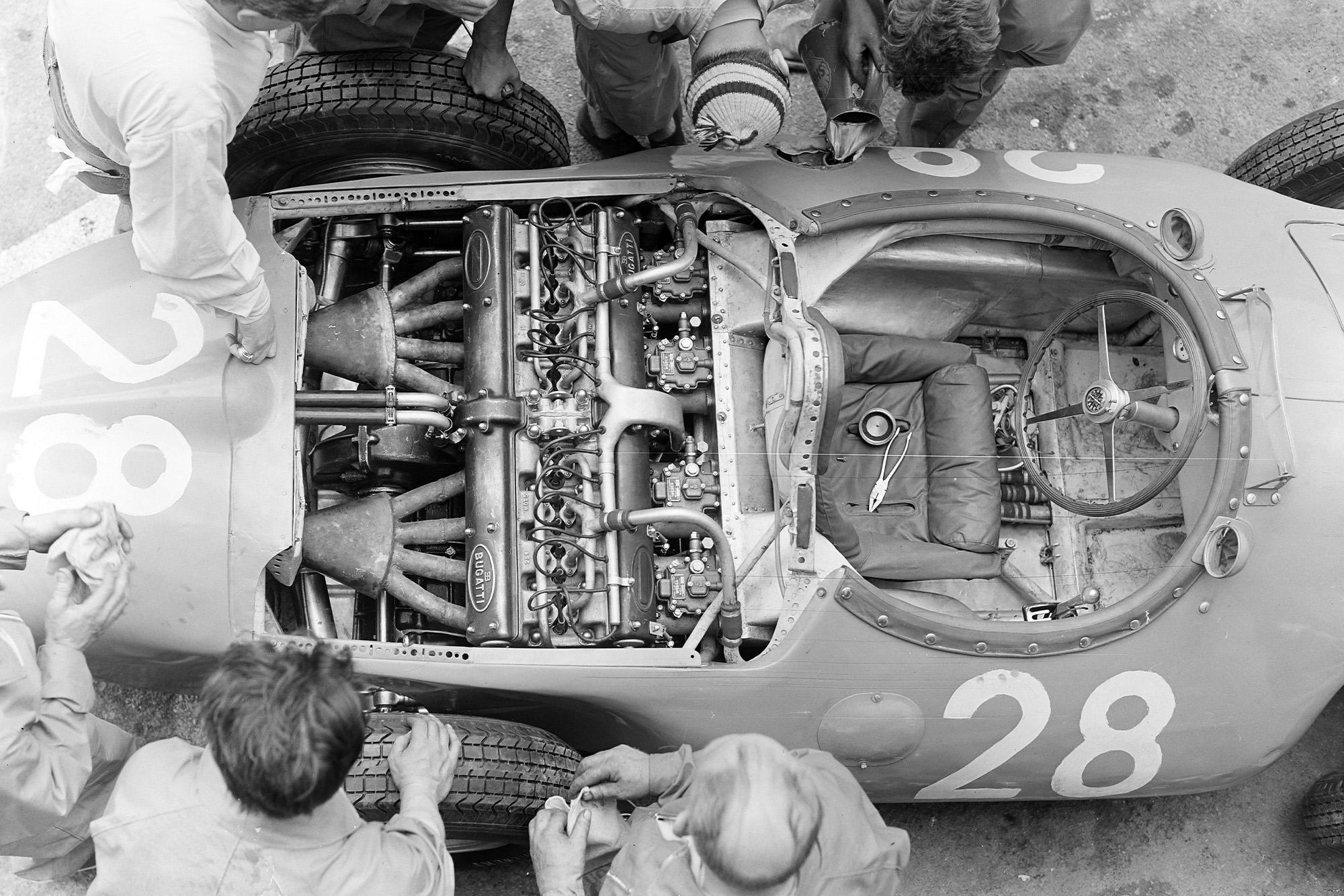 Trintignant's Bugatti in the pits