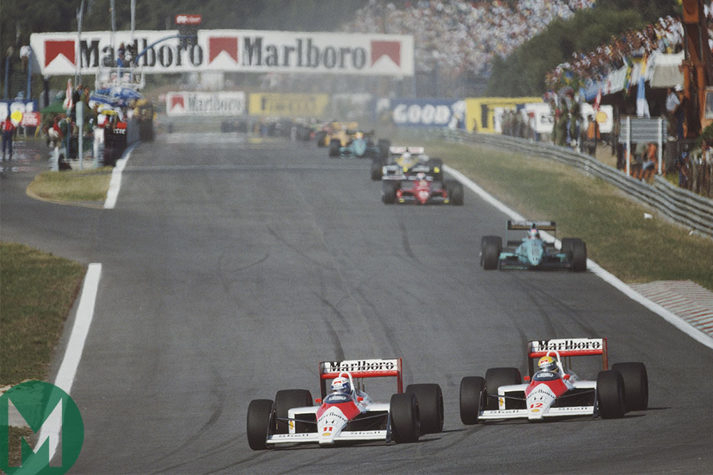 Alain Prost and Ayrton Senna race one another at the 1988 Portuguese Grand Prix