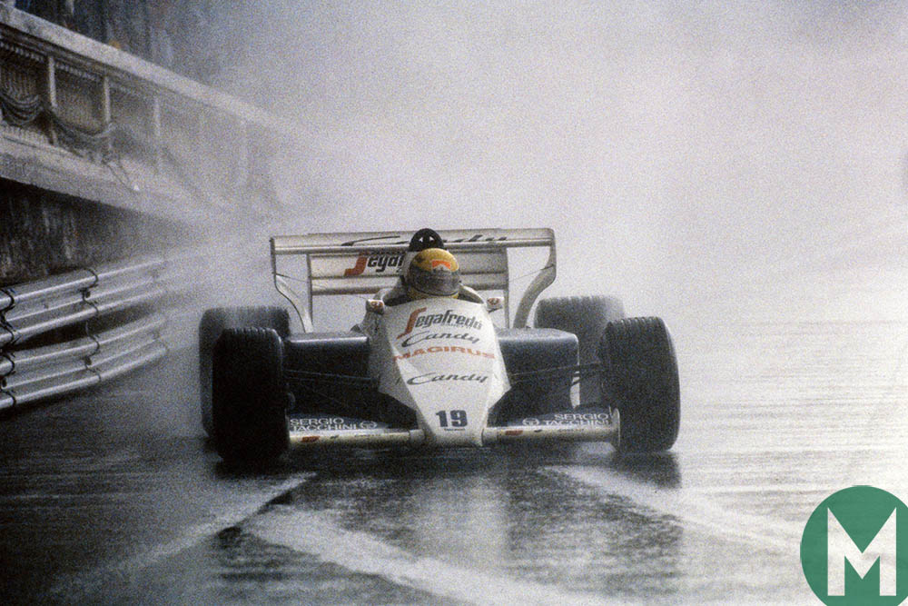 Ayrton Senna drives his Toleman through the rain at the 1984 Monaco Grand Prix