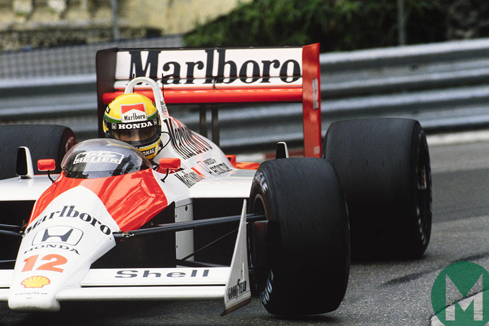 Ayrton Senna rounds the hairpin in his McLaren-Honda at the 1988 Monaco Grand Prix