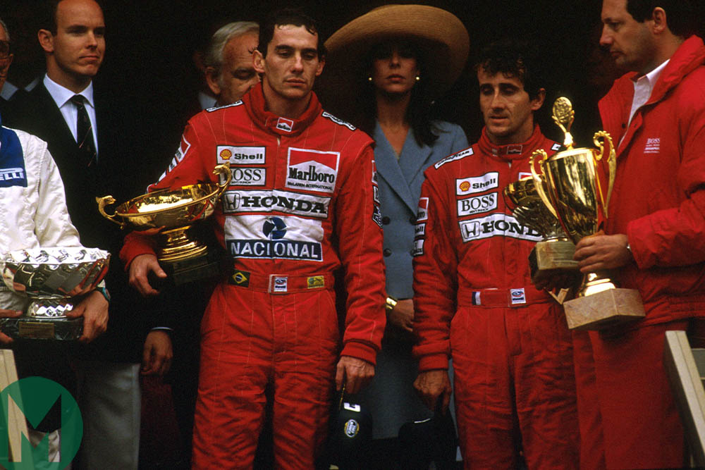 Ayrton Senna, Alain Prost, Ron Dennis and Prince Albert on the 1989 Monaco Grand Prix podium