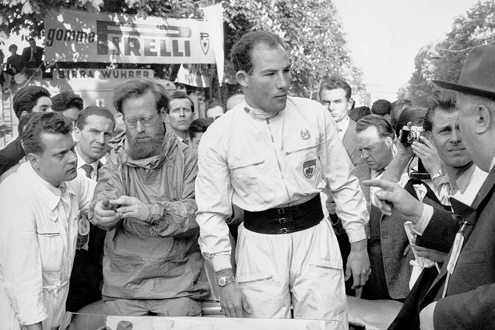 Denis Jenkinson and Stirling Moss pre-race at the 1955 Mille Miglia Italy