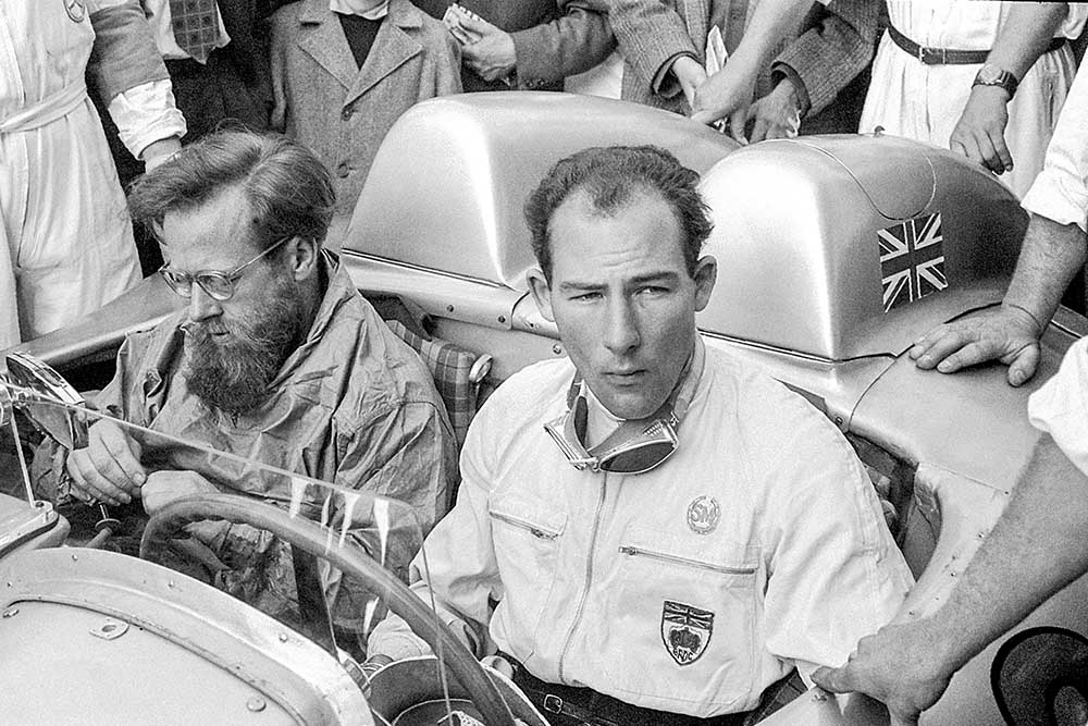 Stirling Moss and Denis Jenkinson before start of 1955 Mille Miglia Italy