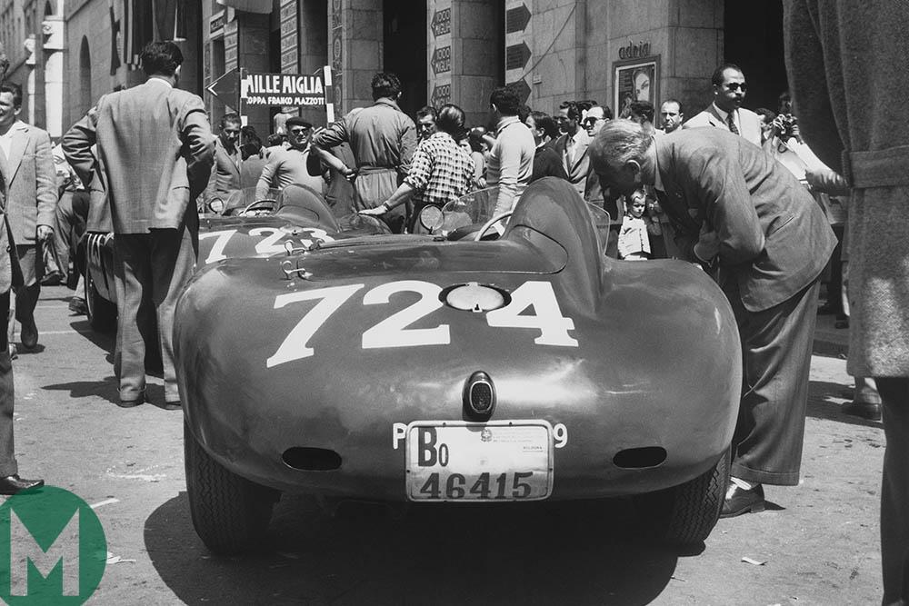 Sergio Sighinolfi's Ferrari awaits scrutineering at 1955 Mille Miglia