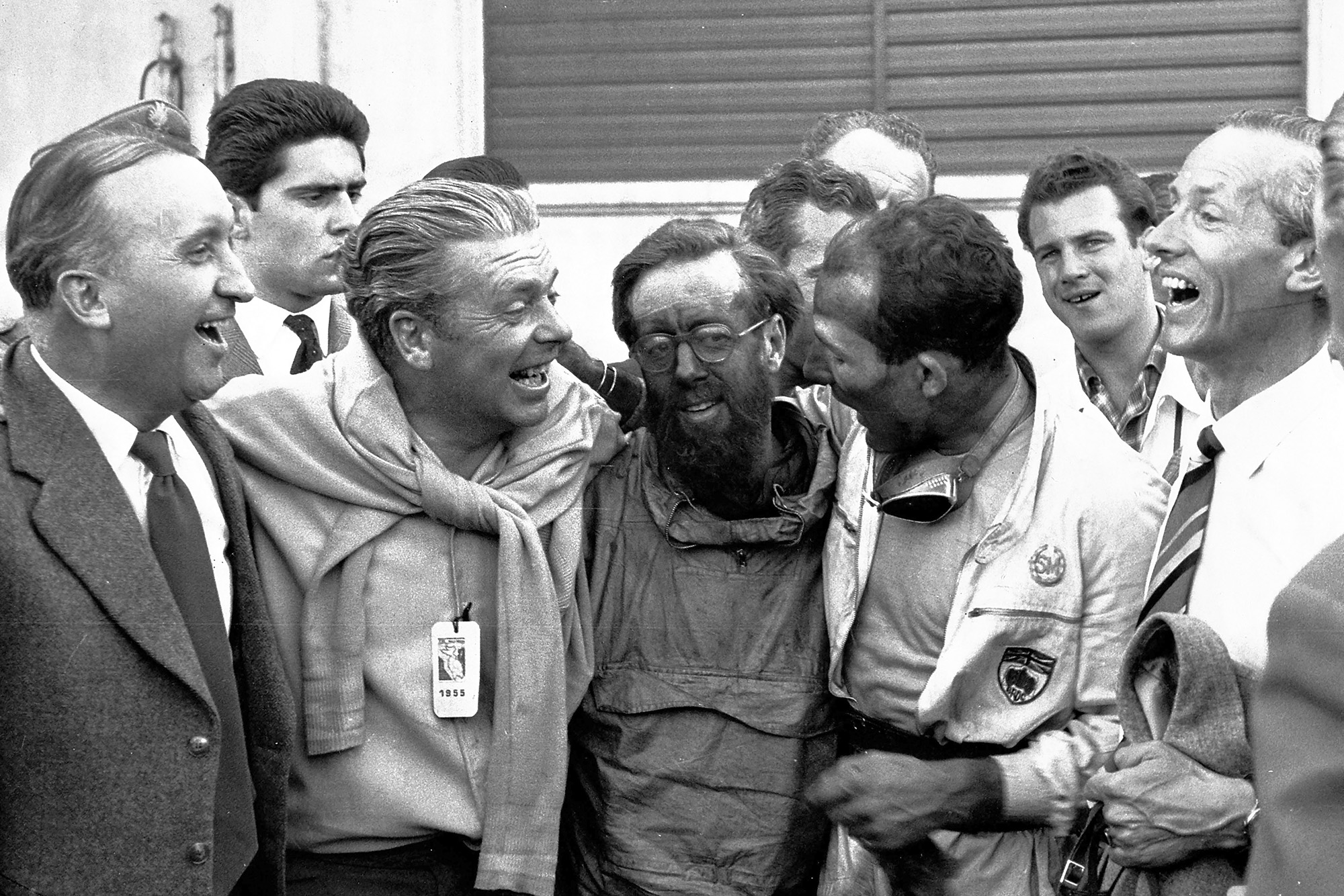 Stirling Moss and Denis Jenkinson celebrate winning the 1955 Mille Miglia Italy