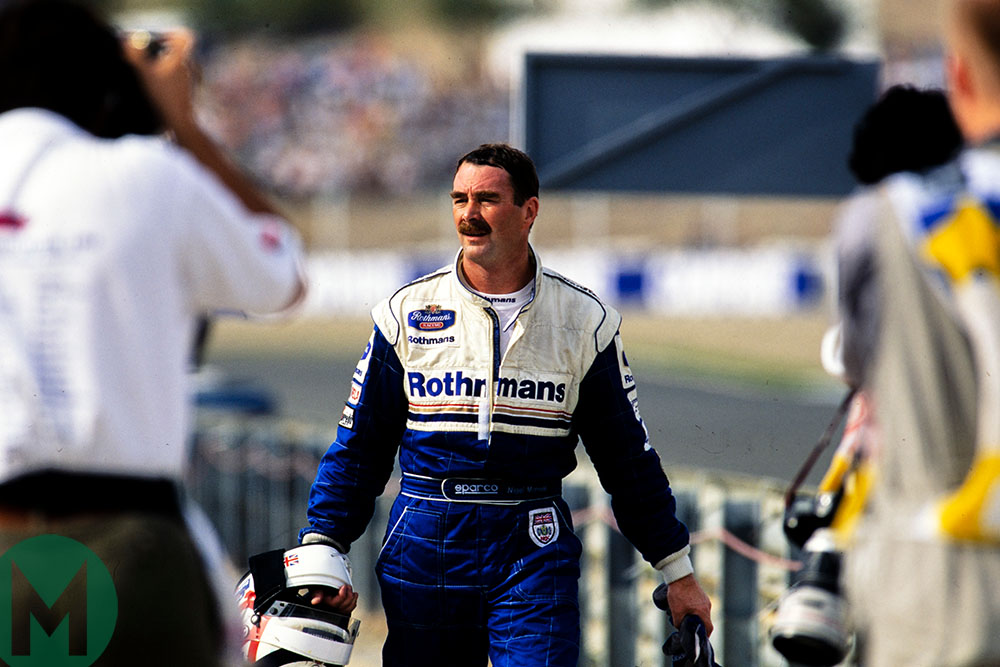 Mansell walks back after spinning out of 1994 European Grand Prix at Jerez
