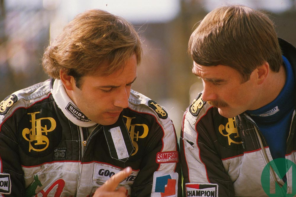 De Angelis and Mansell confer during 1984 Austrian GP weekend