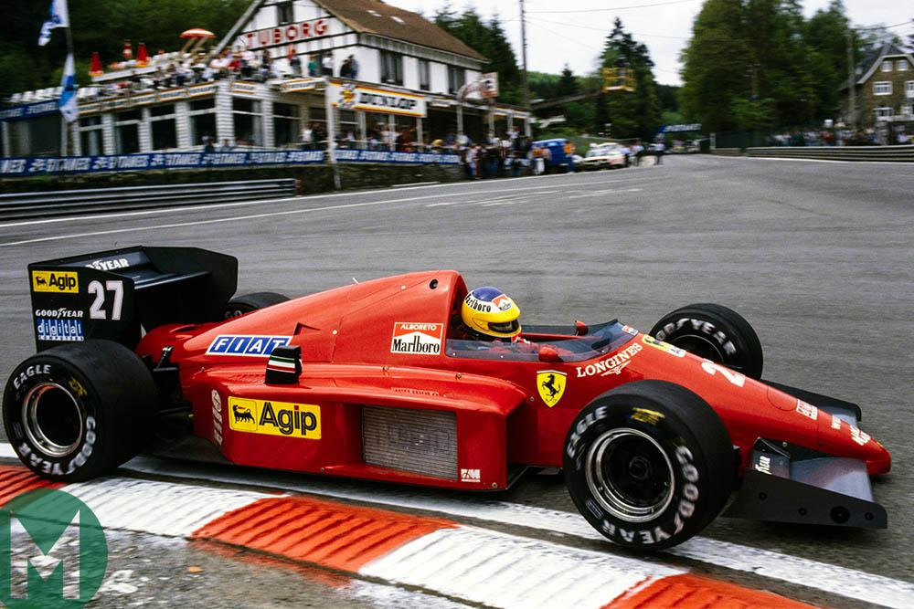 Michele Alboreto of Ferrari rounds the first turn at Spa-Francorchamps Belgium 1986
