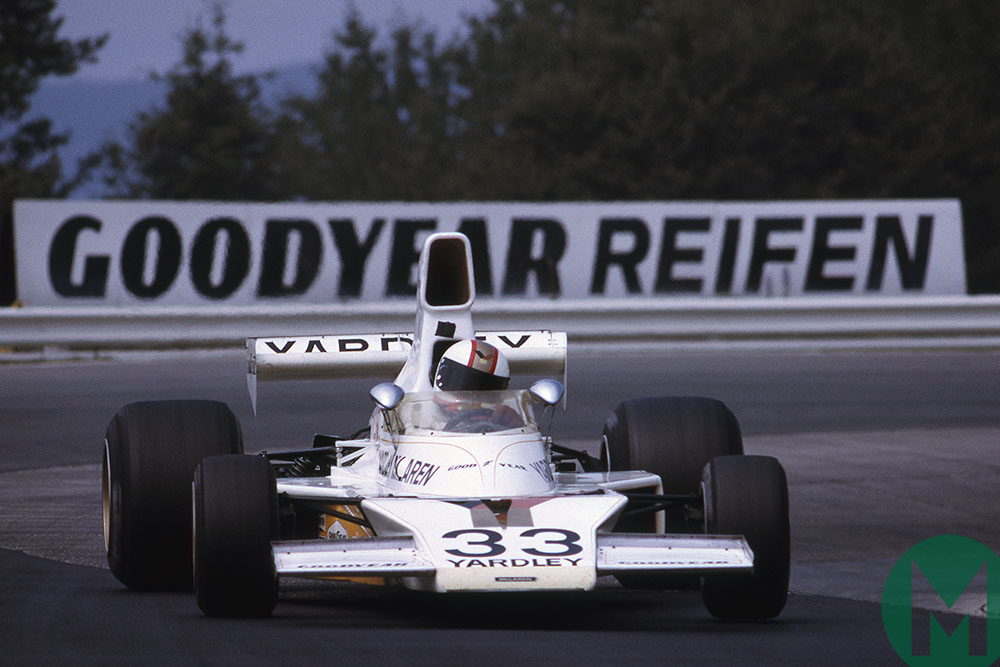 Mike Hailwood in his McLaren at the 1974 German GP Nurburgring