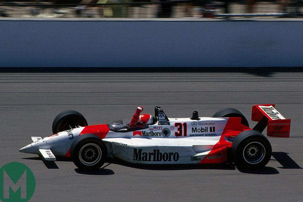 Al Unser Jr wins the 1994 Indianapolis 500 for Penske-Mercedes