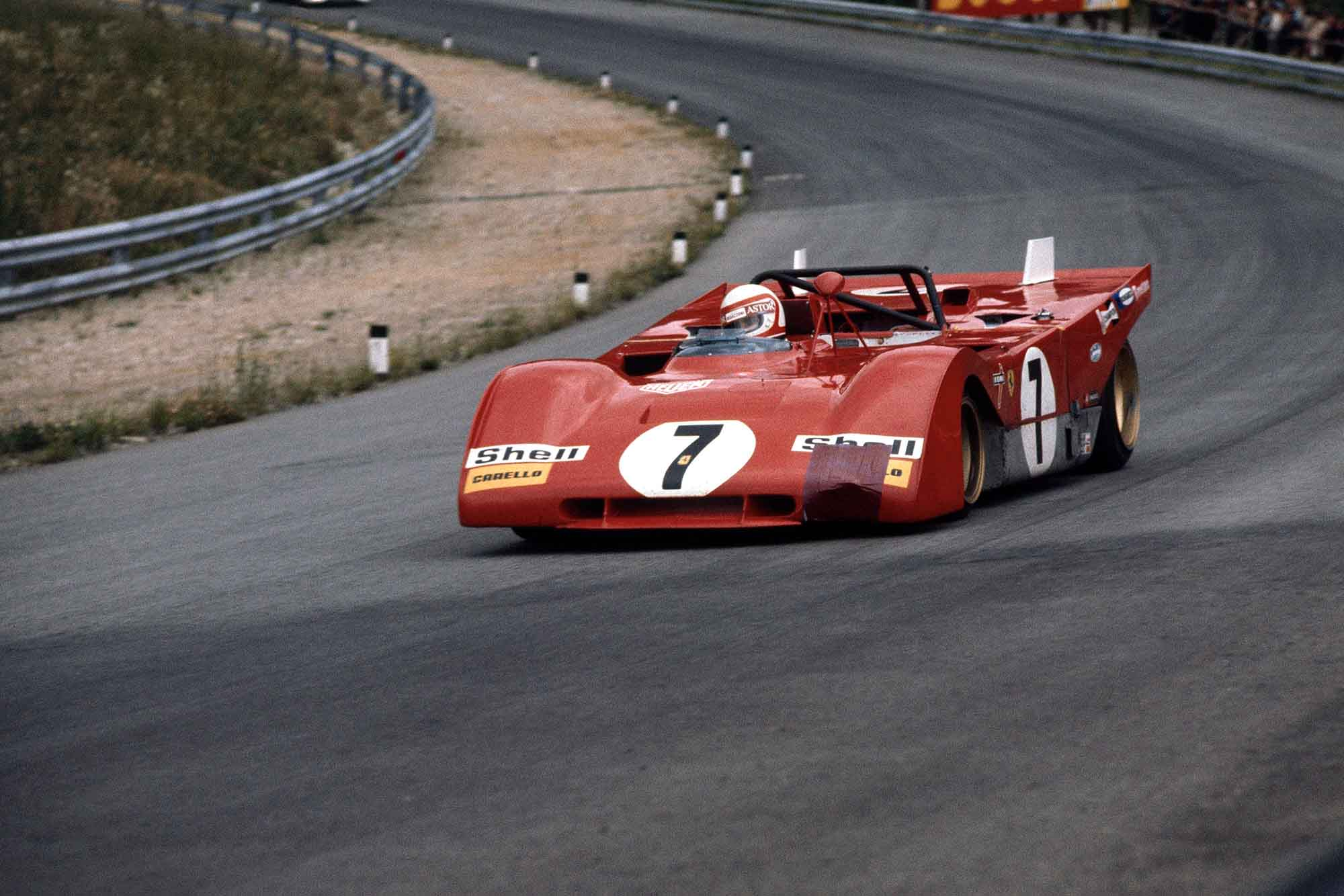 Clay Regazzoni attempting to keep his Ferrari ahead of Pedro Rodriguez's Porsche at the Austrian 1000km