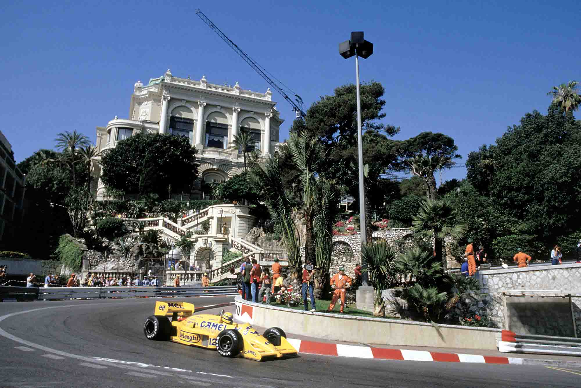 Ayrton Senna rounds the hairpin at Monaco Grand Prix 1987