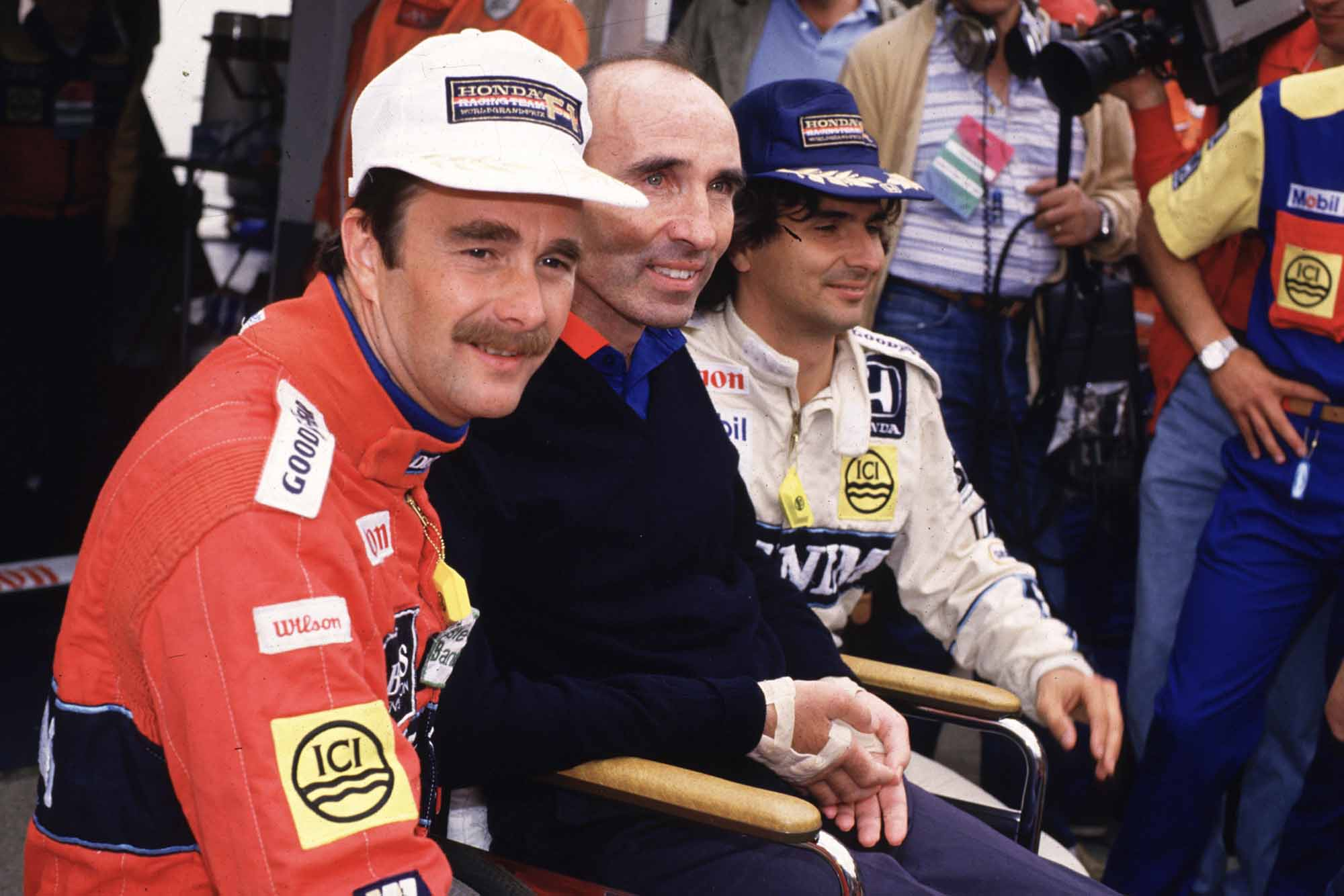 Nigel Mansell, Nelson Piquet and Frank Williams 1986