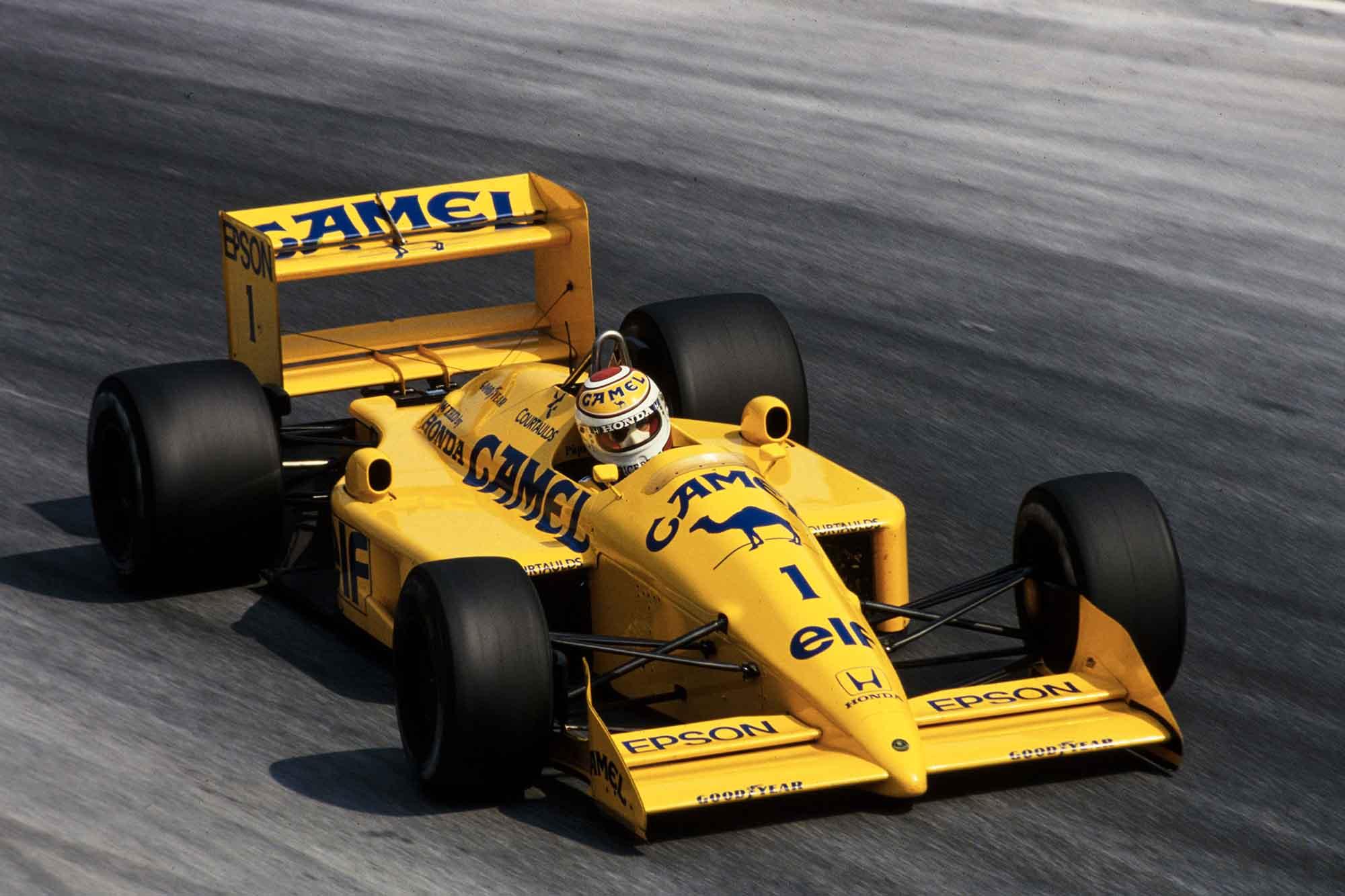 Nelson Piquet in his Lotus-Honda at 1988 Italian Grand Prix
