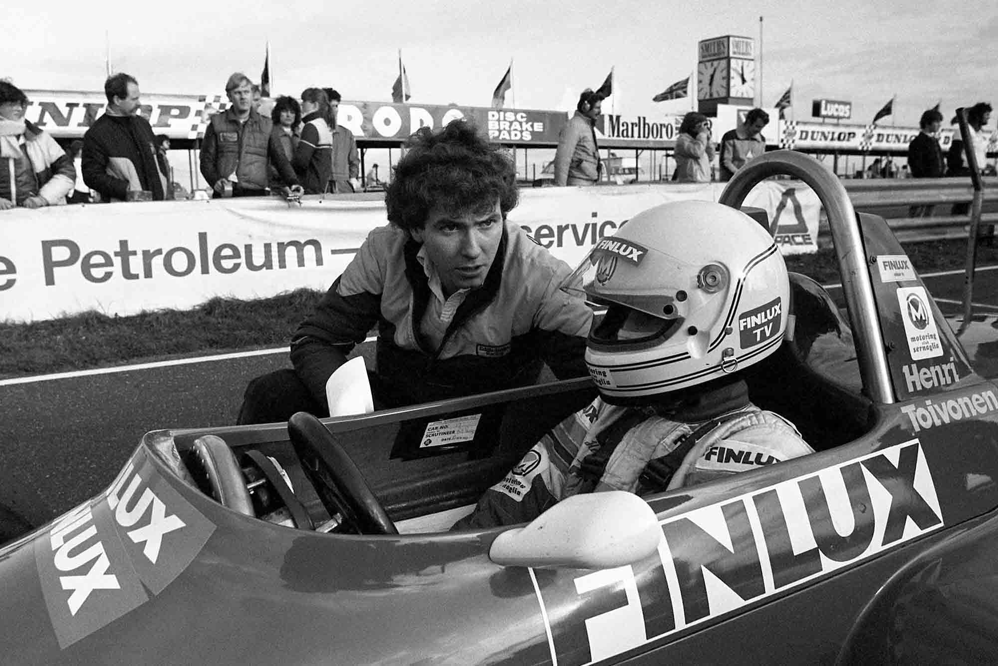 Henri Toivonen lines up on the grid for Eddie Jordan Racing in F3 Thruxton 1982