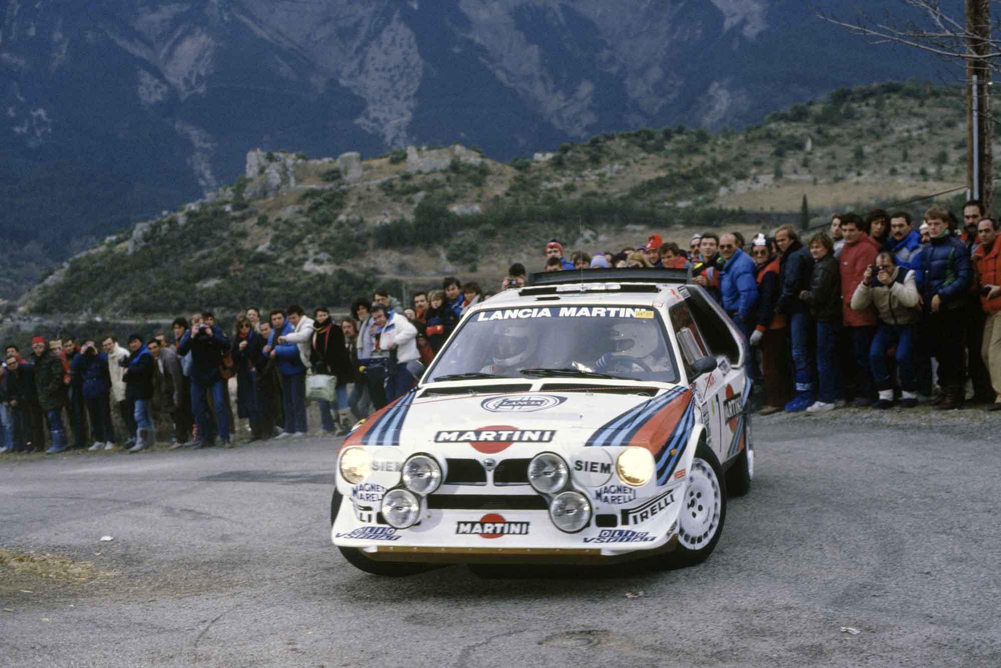 Henri Toivonen attacks the 1986 Monte Carlo Rally in his Martini Lancia Delta