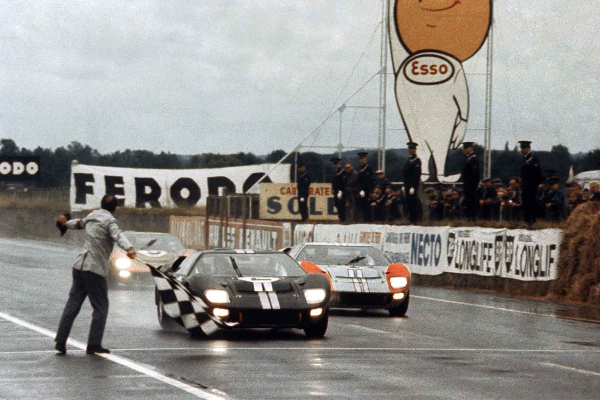 American Shelby team Ford GT40s take a one-two finish at Le Mans 1966, cars driven by Chris Amon/Bruce McLaren and Ken Miles/Denny Hulme