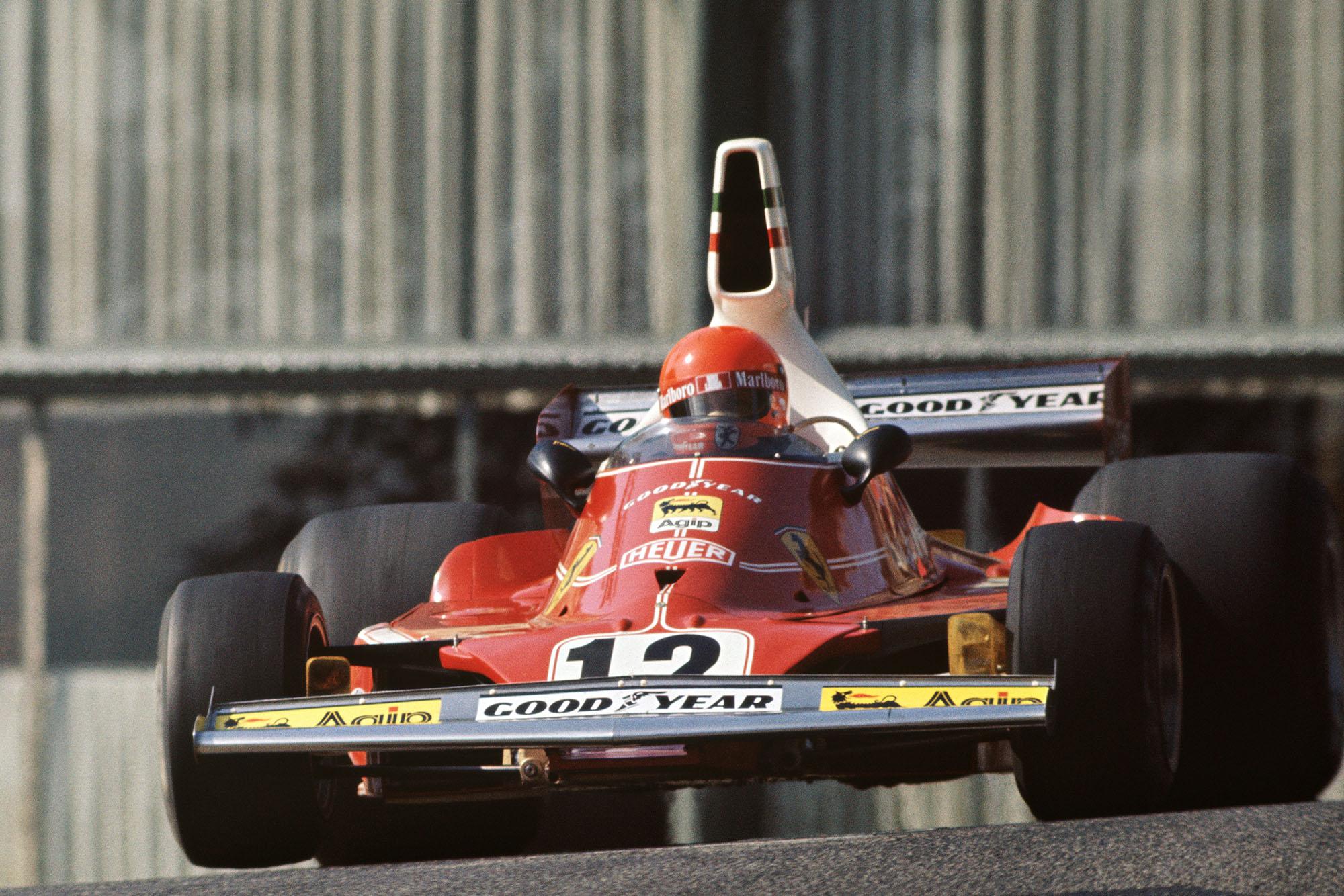 Niki Lauda's Ferrari jumps through Casino at the 1975 Monaco Grand Prix