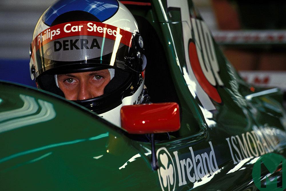 Michael Schumacher sits in his Jordan at 1991 Belgium GP