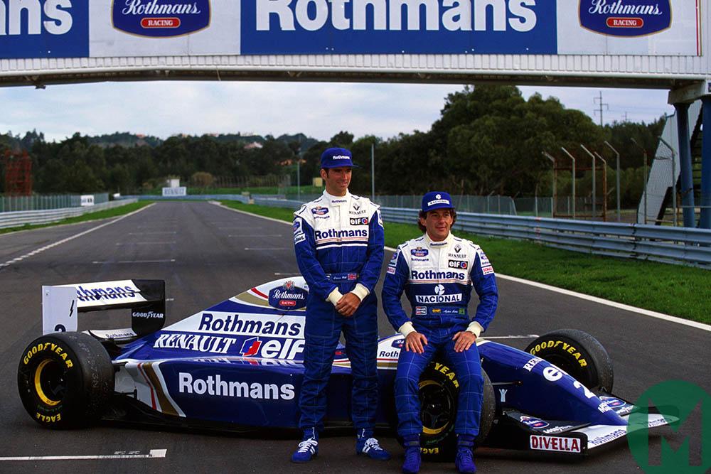 Ayrton Senna and Damon Hill pose at unveiling of 1994 Williams F1 car